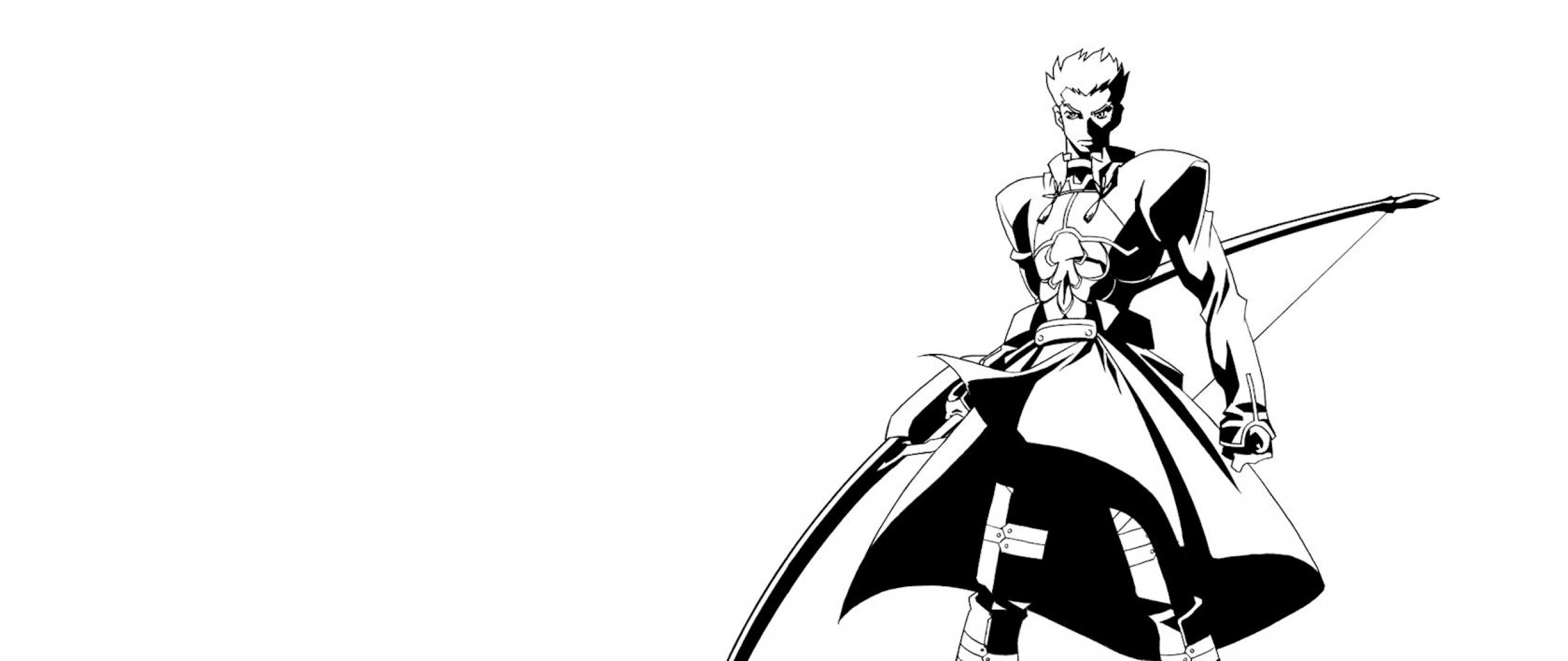 Wallpaper anime, boy, black and white, arms, bow, cloak