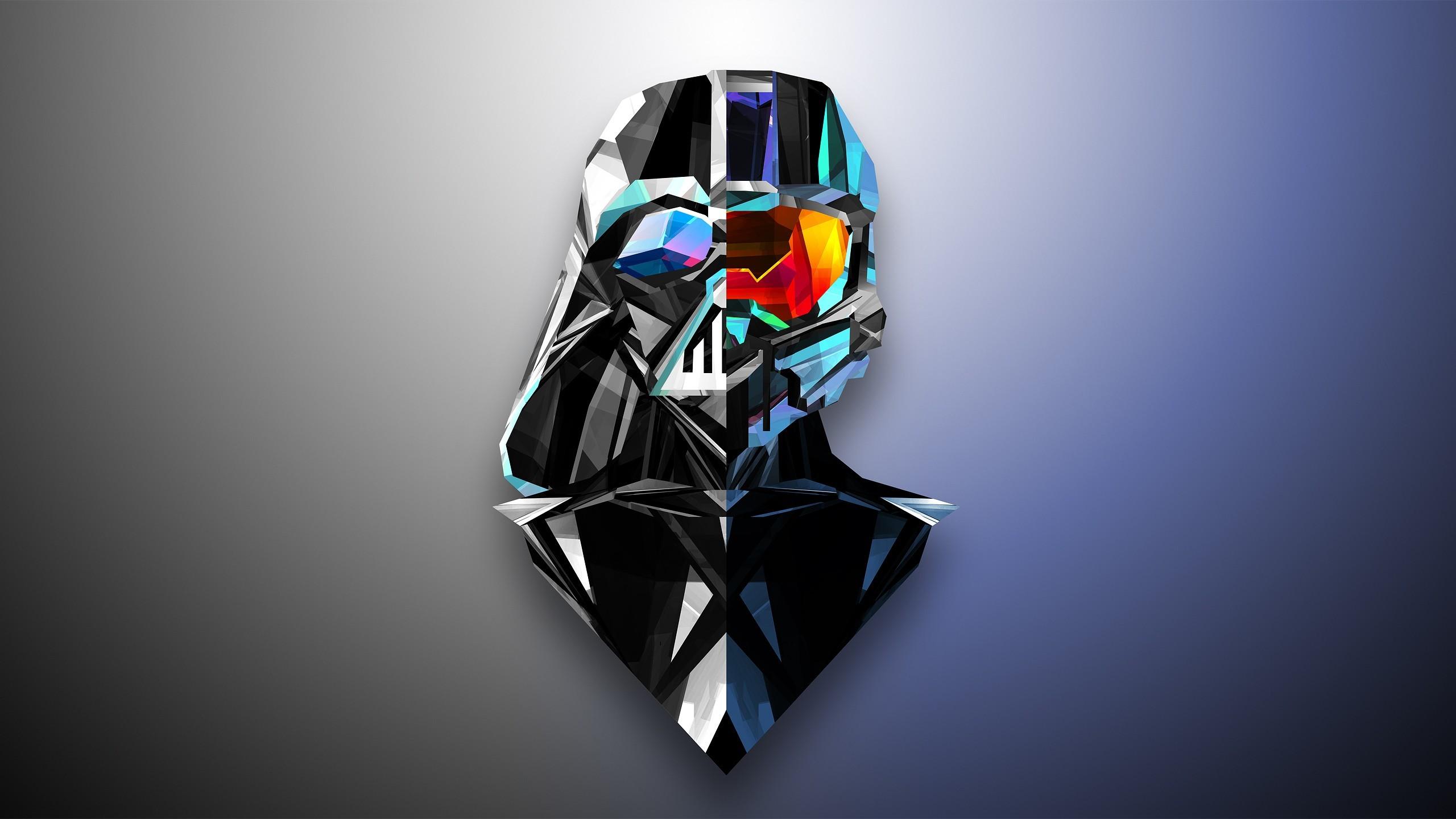 Justin Maller, abstract, low poly, Halo, Darth Vader, Master Chief