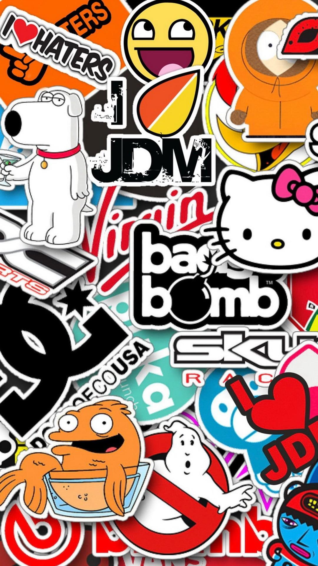 Пятничные обои для iPhone: Sticker bombing