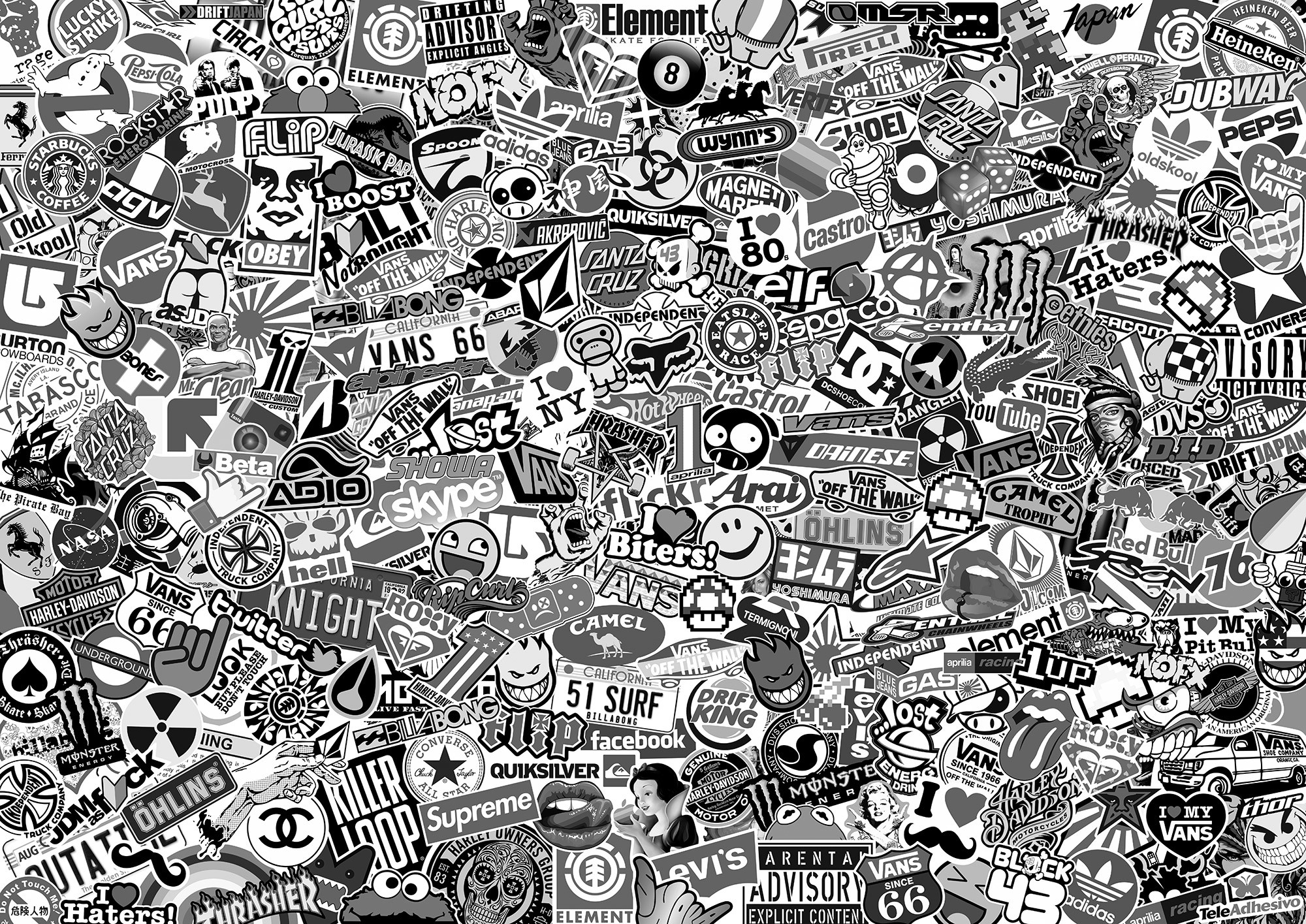 Car and Motorbike Stickers: Stickerbomb XL black and white