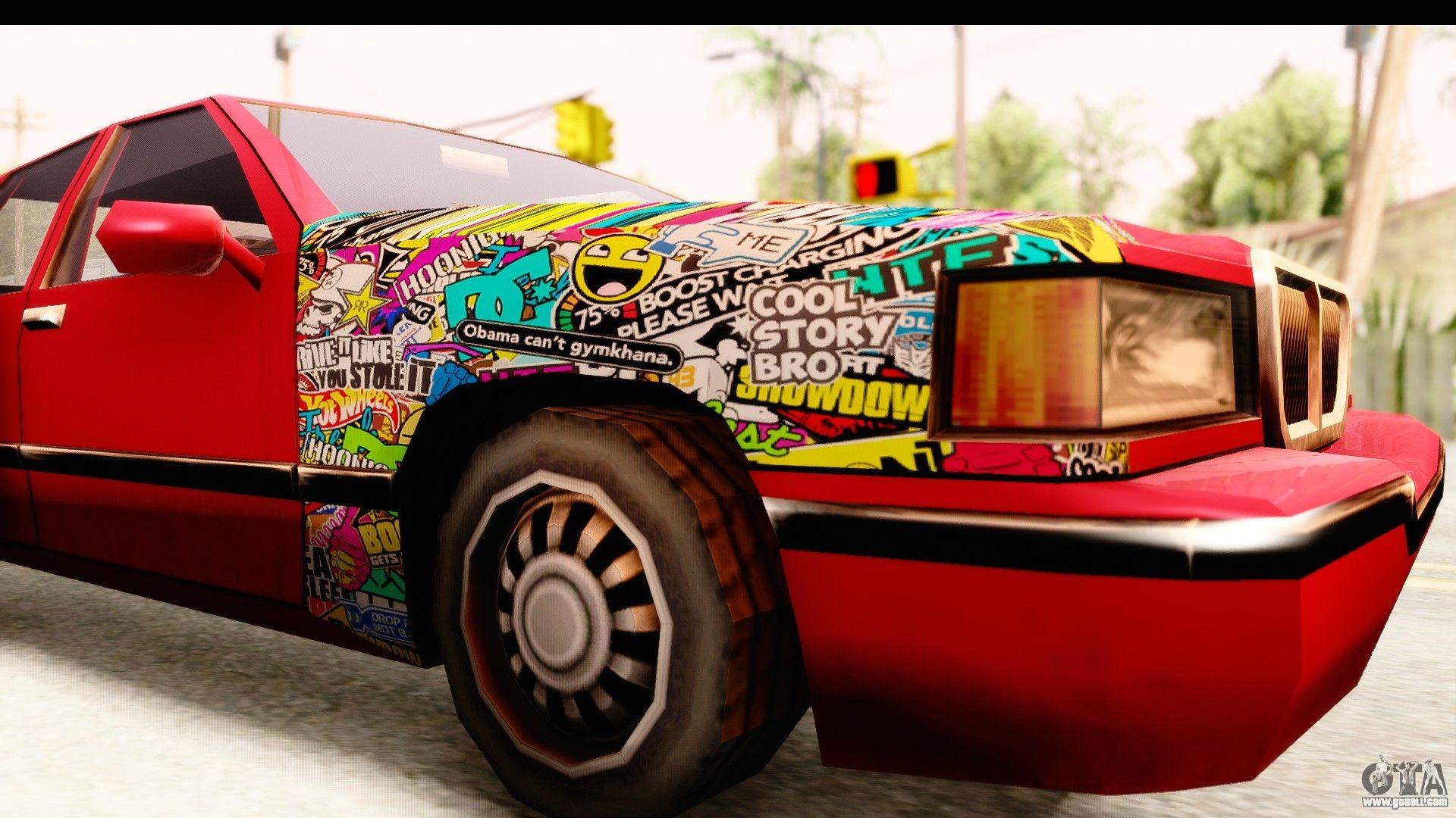 Elegant Sticker Bomb for GTA San Andreas back view