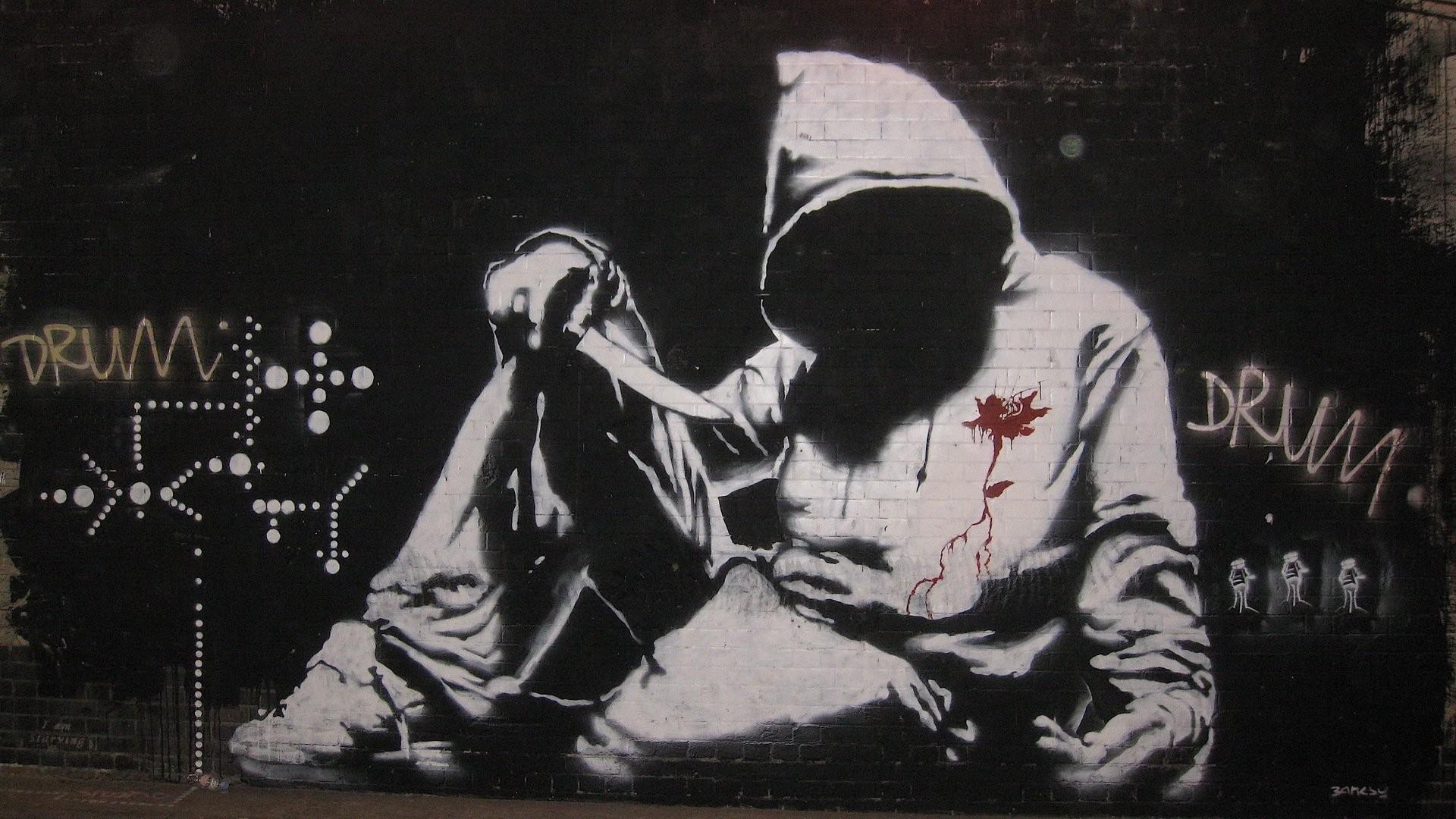 banksy hoodie graffiti