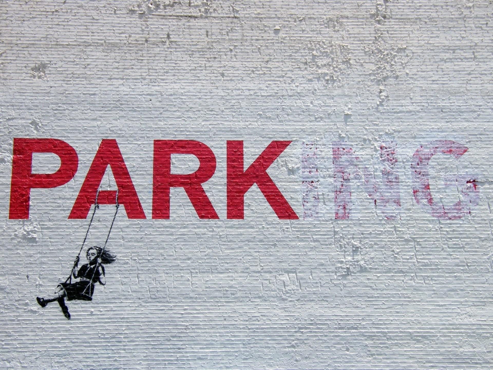 graffiti banksy park-ing stencil girl