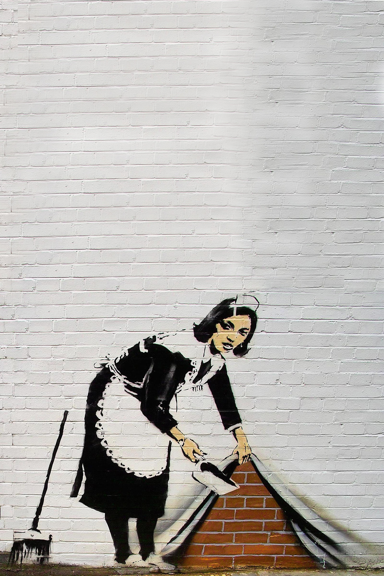 Banksy Maid Sweeping Android Wallpaper. Banksy Maid Sweeping Android  Wallpaper
