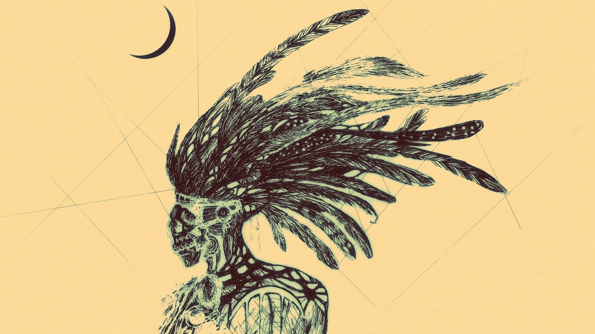 digital art, artwork, minimalism, selective coloring, lines, feathers,  skeleton,