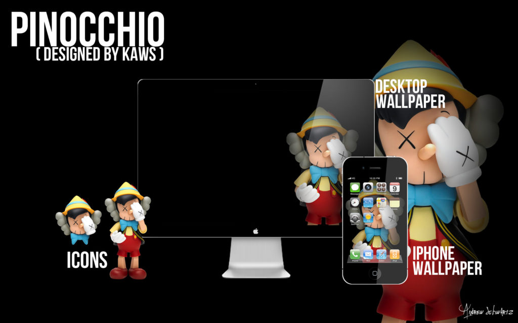 KAWS Pinocchio Wallpaper and Icons by acvschwartz KAWS Pinocchio Wallpaper  and Icons by acvschwartz