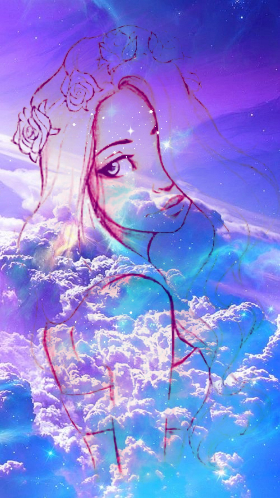 wallpapers for phone – girl galaxy – Hipster girl – galaxy Sky star – iphone