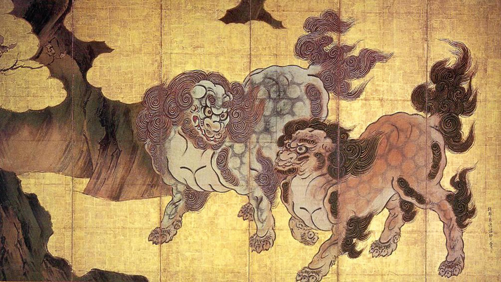 previous japanese wallpaper. Two Chinese Lions In The Clouds