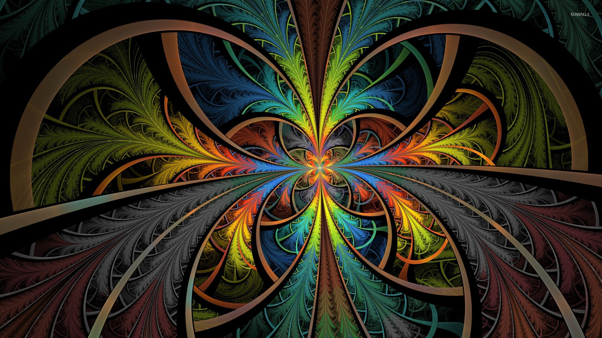 Abstract colors fractals multicolor psychedelic wallpaper .