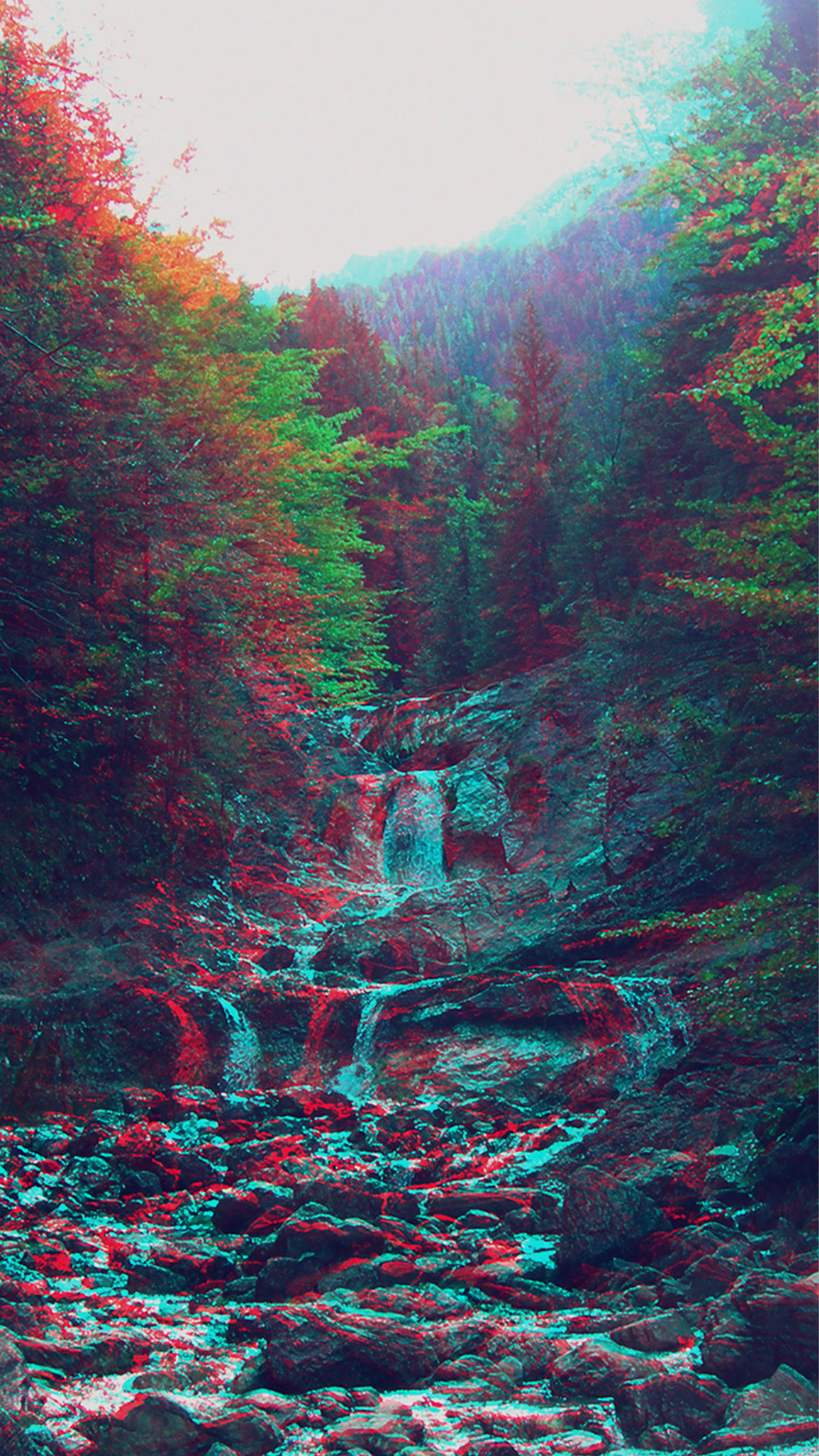 Anaglyph Mountain Green Nature Art #iPhone #6 #plus #wallpaper