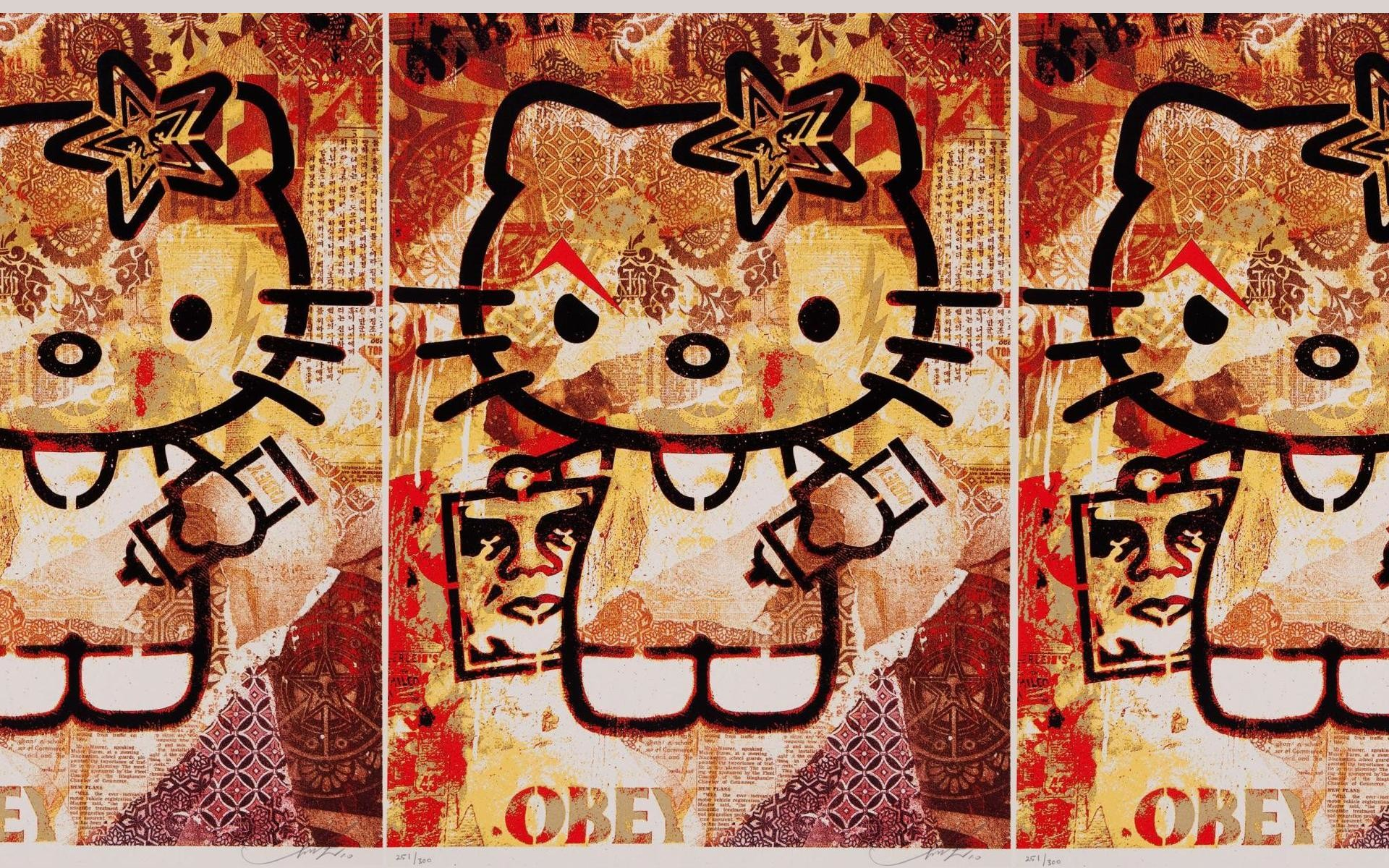 Obey Hello Kitty Wallpapers , Obey Hello Kitty Myspace Backgrounds .