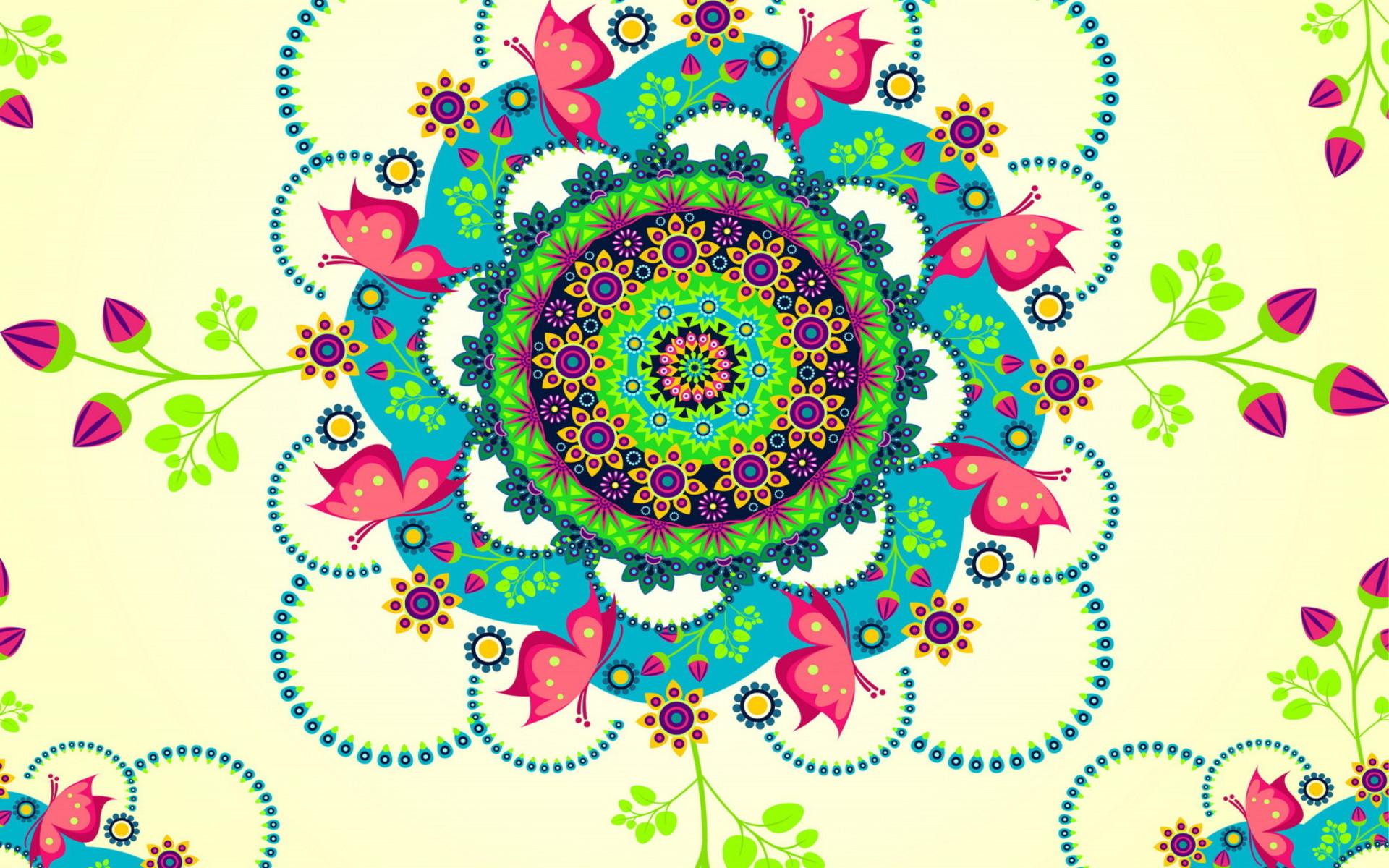Mandala Flowers Wallpaper for Widescreen Desktop PC 1920×1080 Full HD