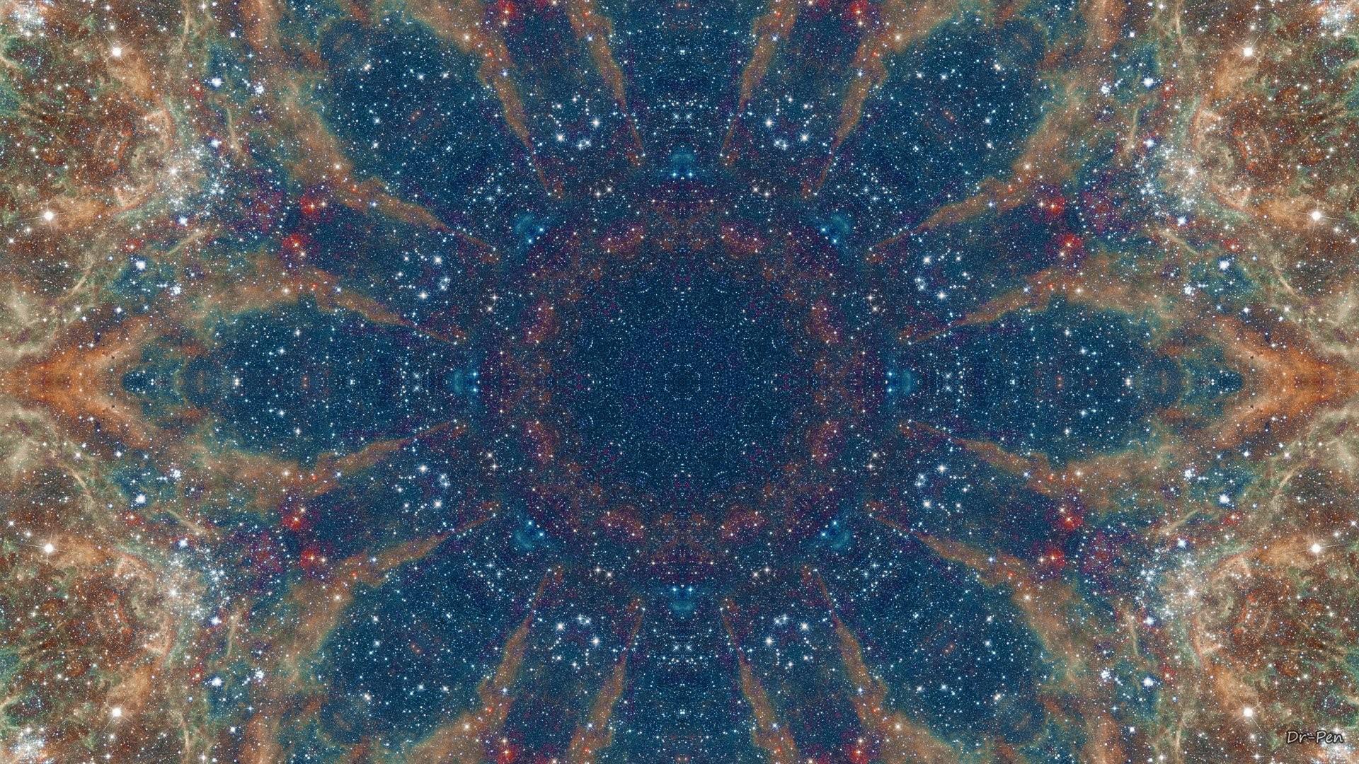 Abstract – Pattern Blue Brown Artistic Manipulation Digital Abstract Mandala  Space Galaxy Wallpaper