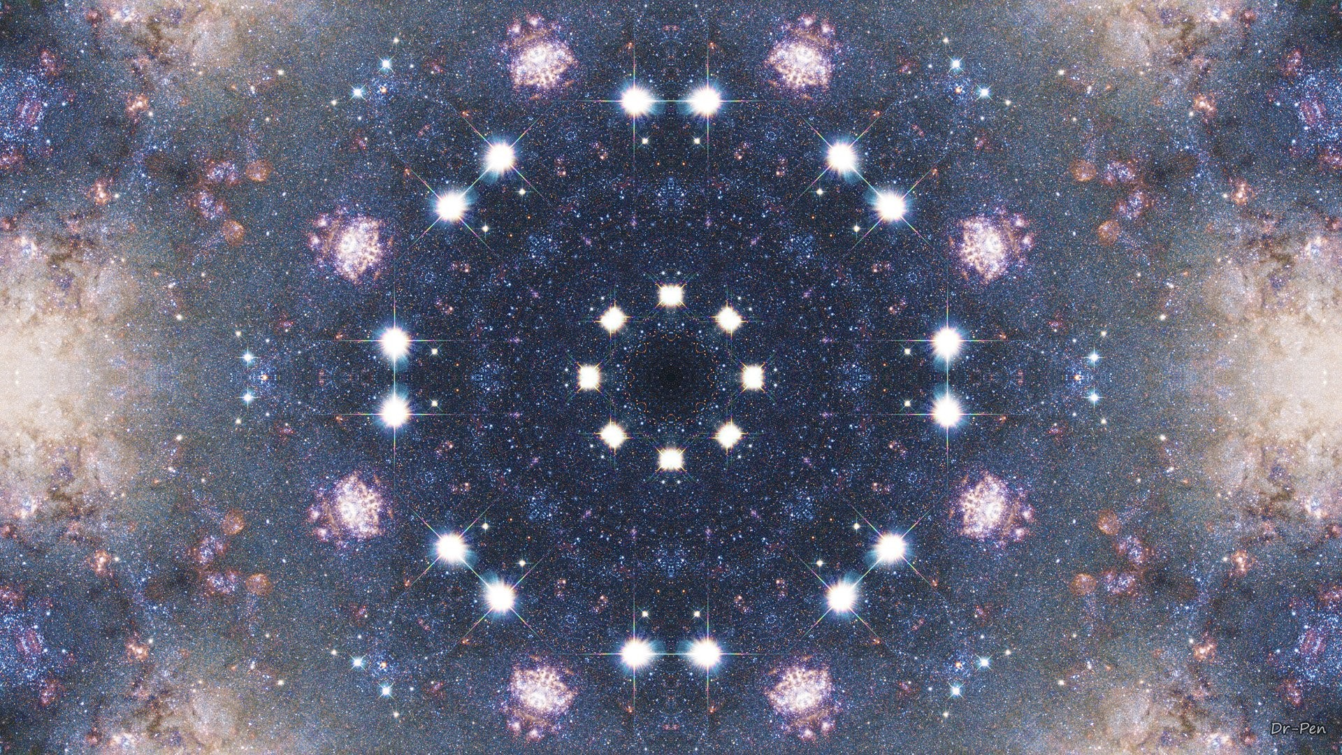 Abstract – Pattern Abstract Artistic Digital Mandala Manipulation Space  Stars Wallpaper