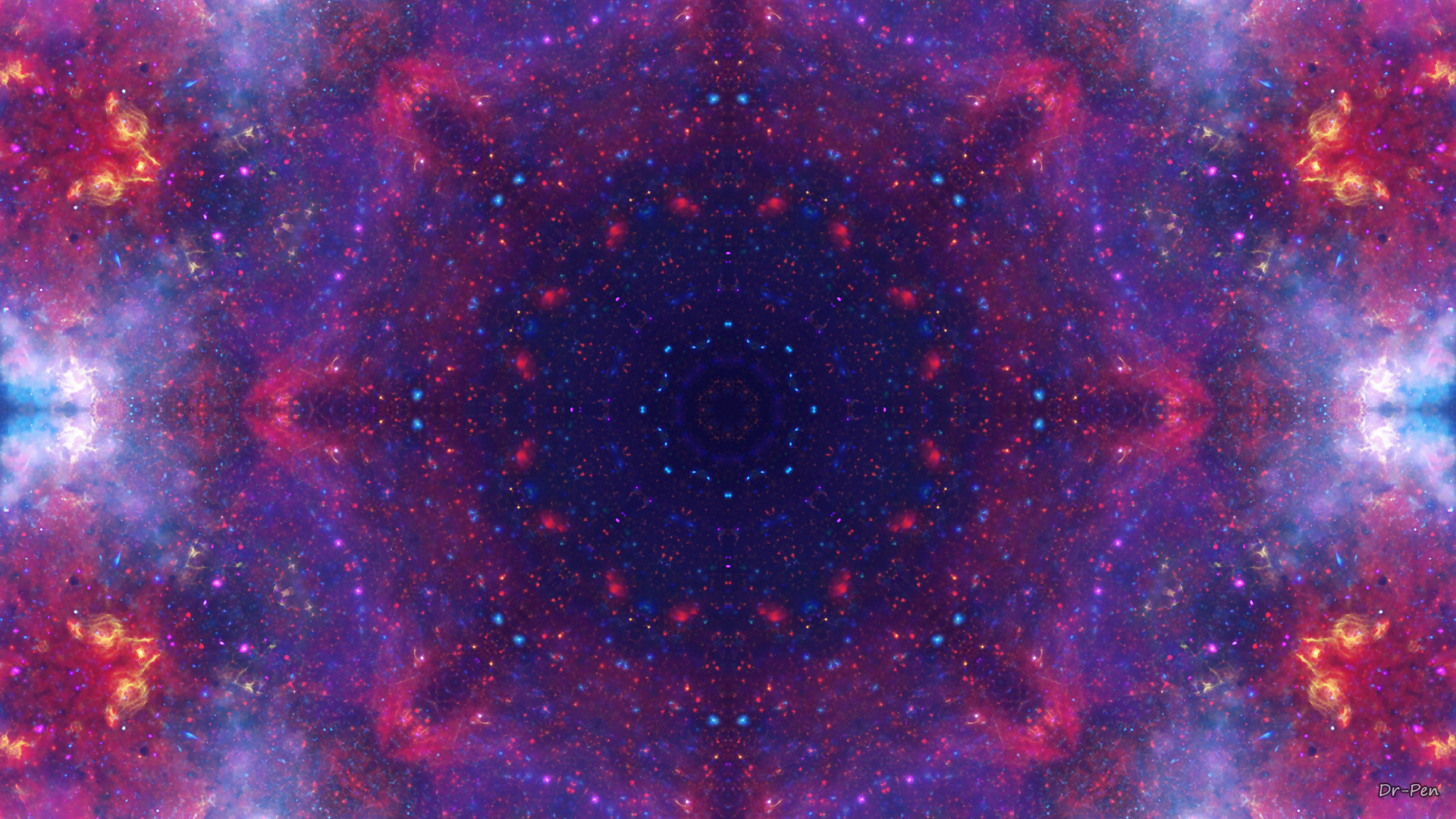 Abstract – Pattern Abstract Artistic Digital Mandala Manipulation Space  Purple Stars Wallpaper
