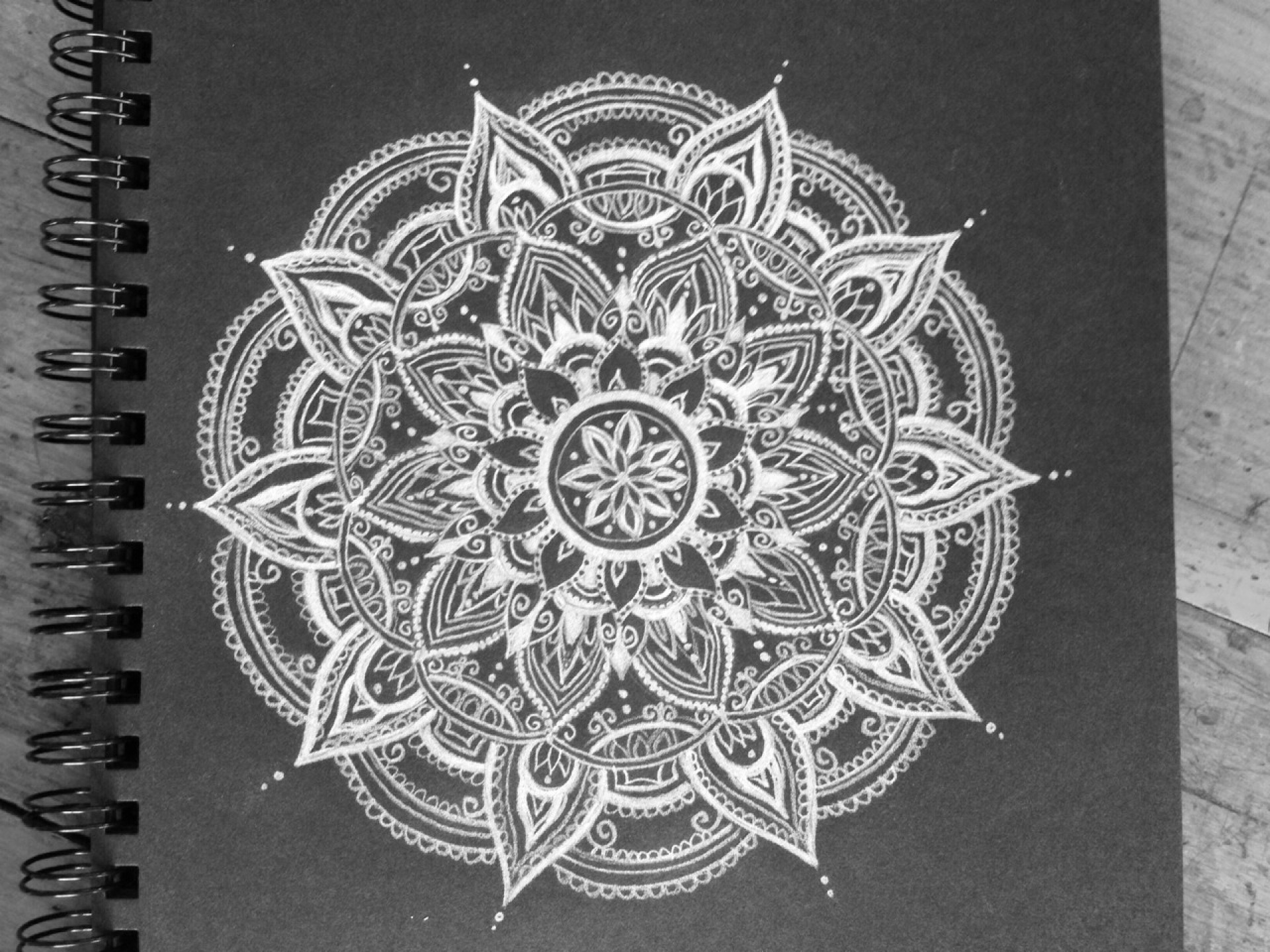 Download Mandala Tumblr Black And White Background Wallpapers HD