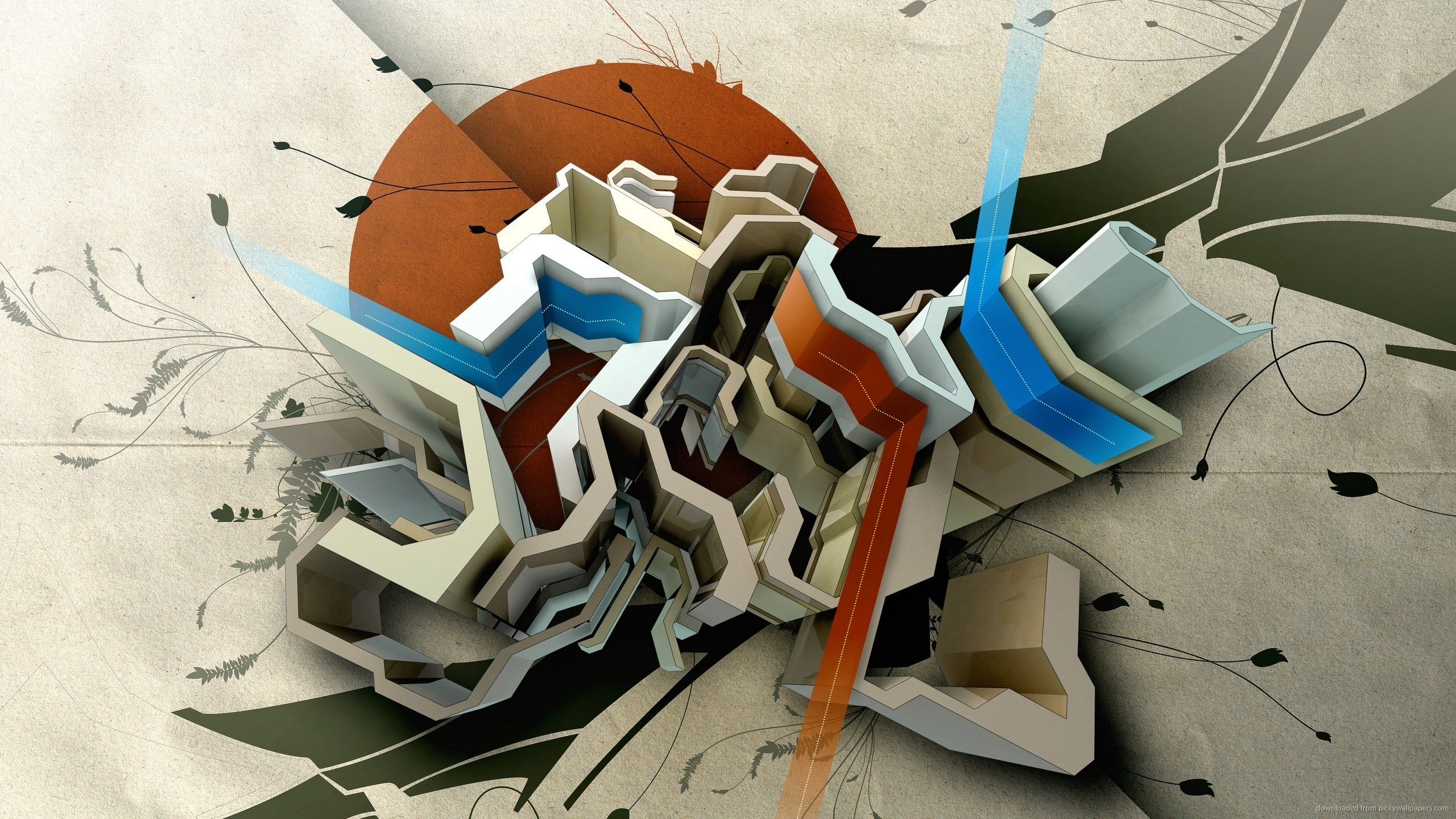 Abstract 3D Graffiti for 2560×1440