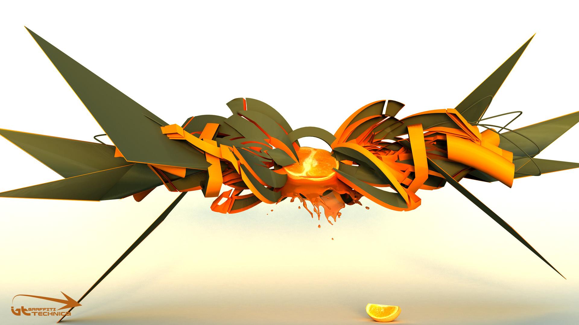 3d graffiti wallpaper – Orange fruit graffiti