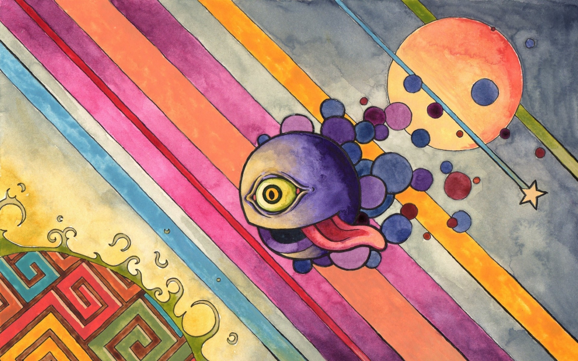 Sharing desktop wallpaper, psychedelic disembodied cyclops tripping through  the multiverse …