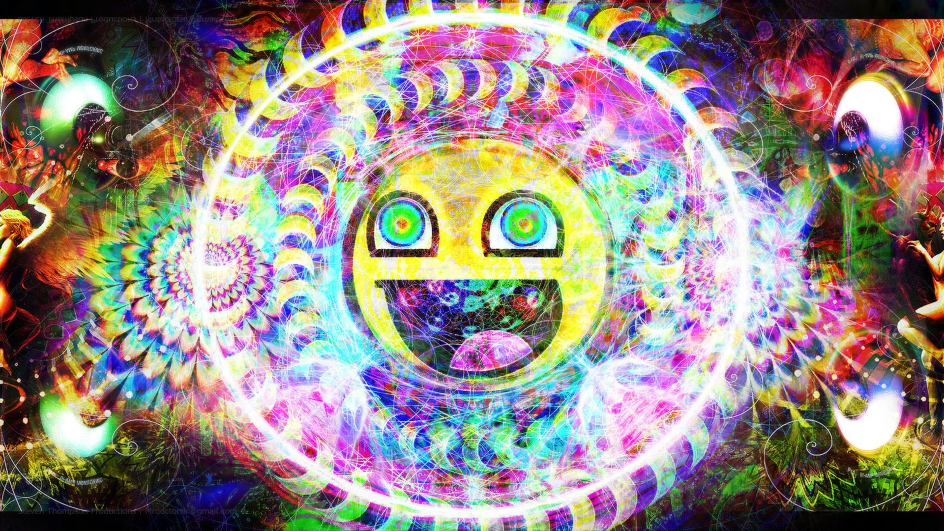 Trippy Psychedelic Awesome Smiley HD Wallpaper | | ID:49066