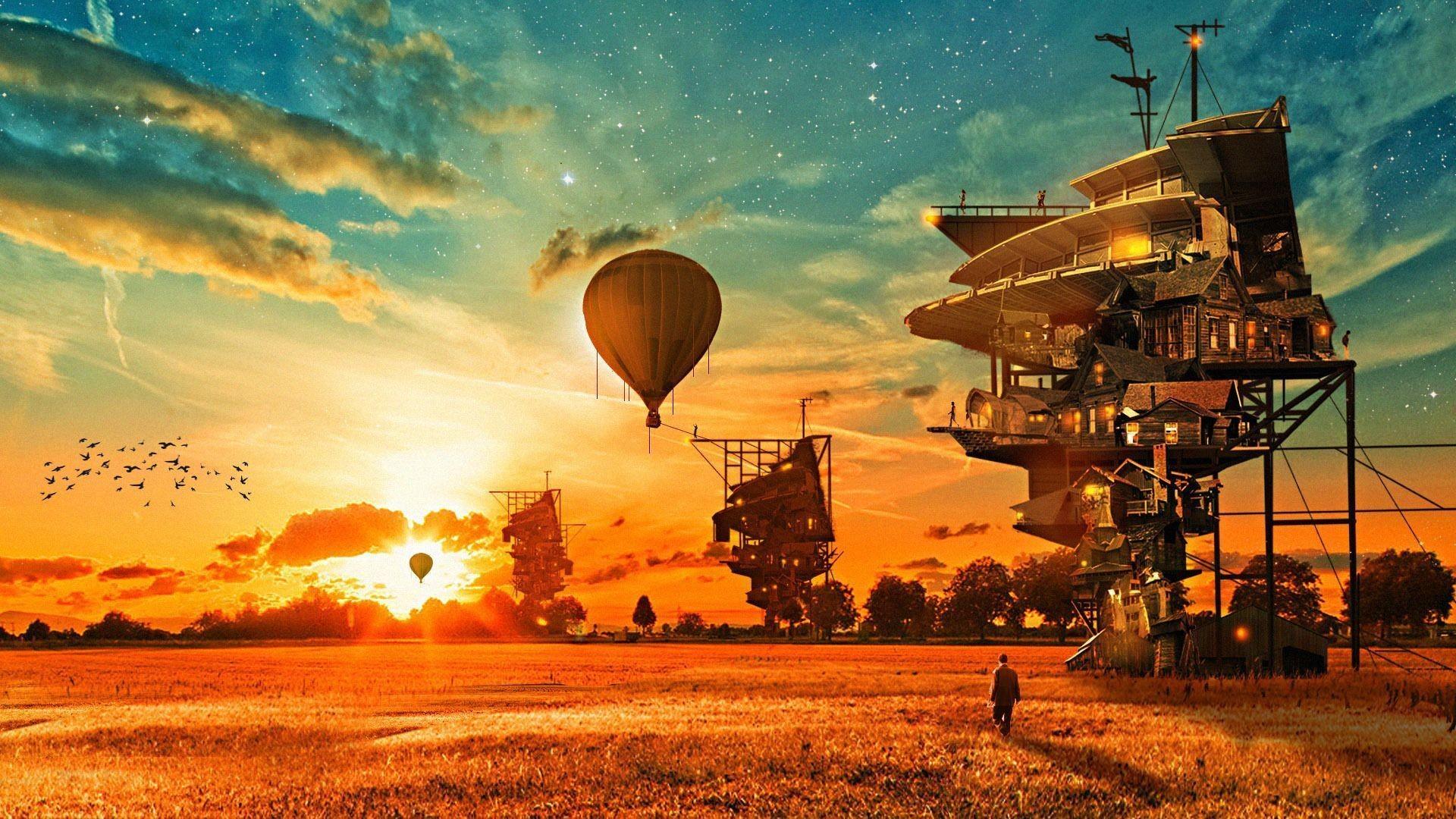 Houses Aerostat Fantasy balloon steampunk wallpaper