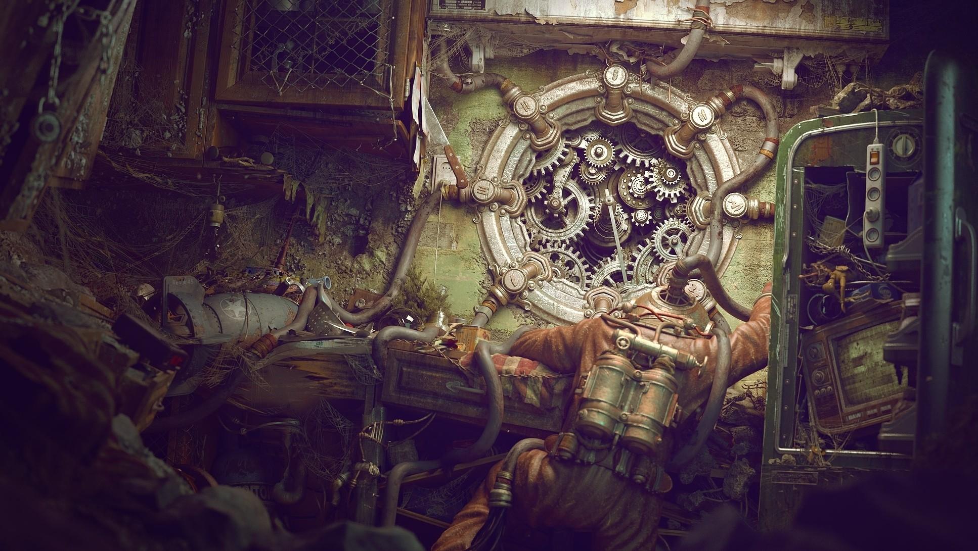 Sci Fi – Steampunk Diver Wire Wallpaper