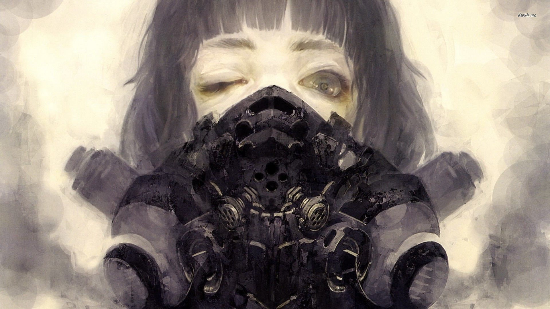 Steampunk gas mask on a girl wallpaper – Fantasy wallpapers – #17078