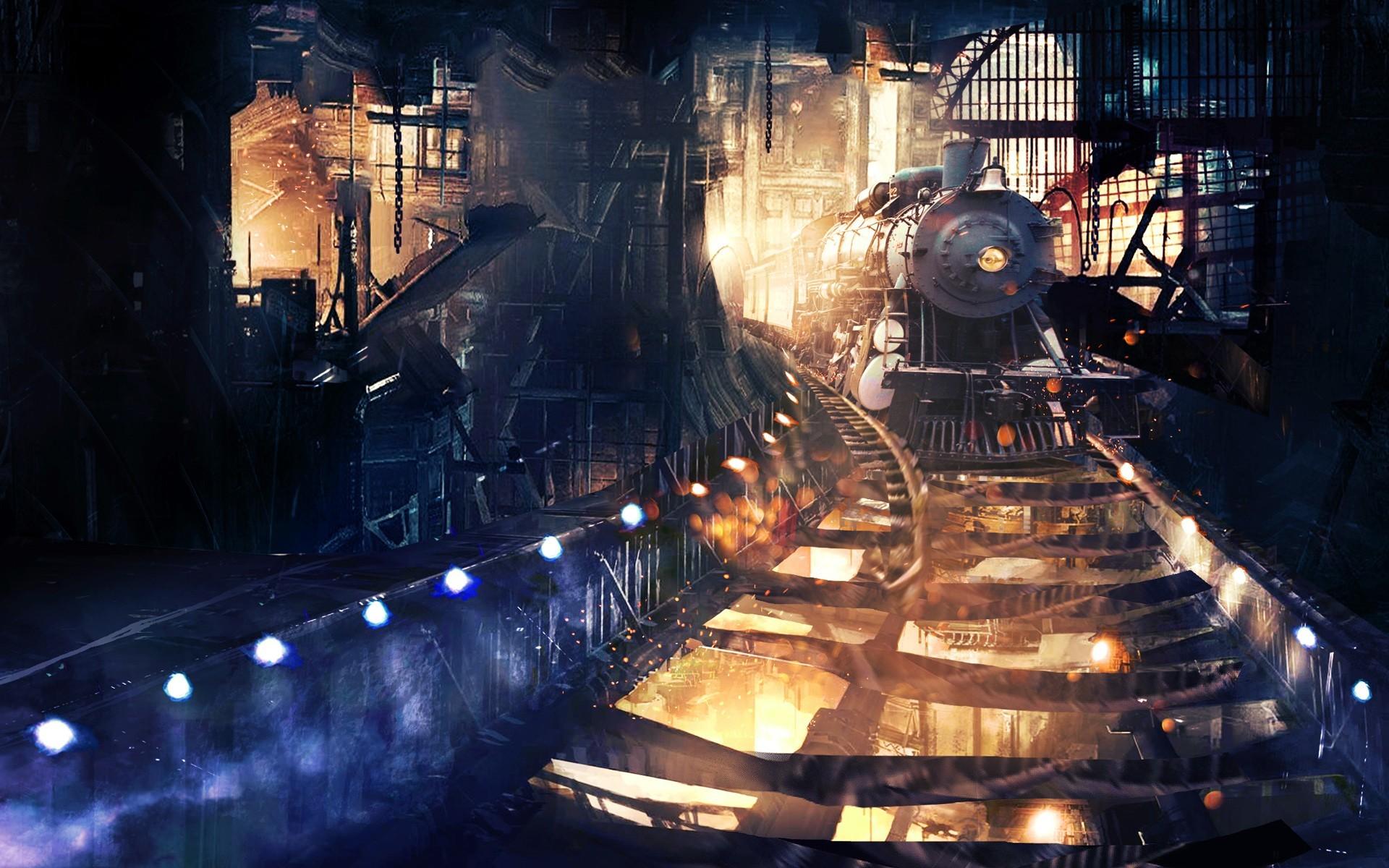 artwork, Fantasy art, Digital art, Train, Steam locomotive, Train station, Steampunk  Wallpapers HD / Desktop and Mobile Backgrounds