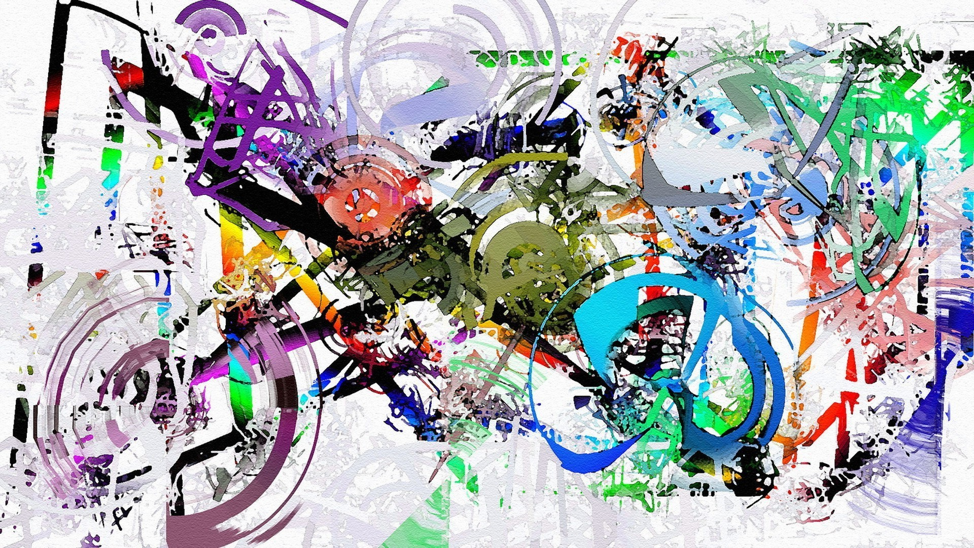 painting, Artwork, Abstract, Paint Splatter, Colorful, Motorcycle, Circle,  Lines, White Background Wallpapers HD / Desktop and Mobile Backgrounds