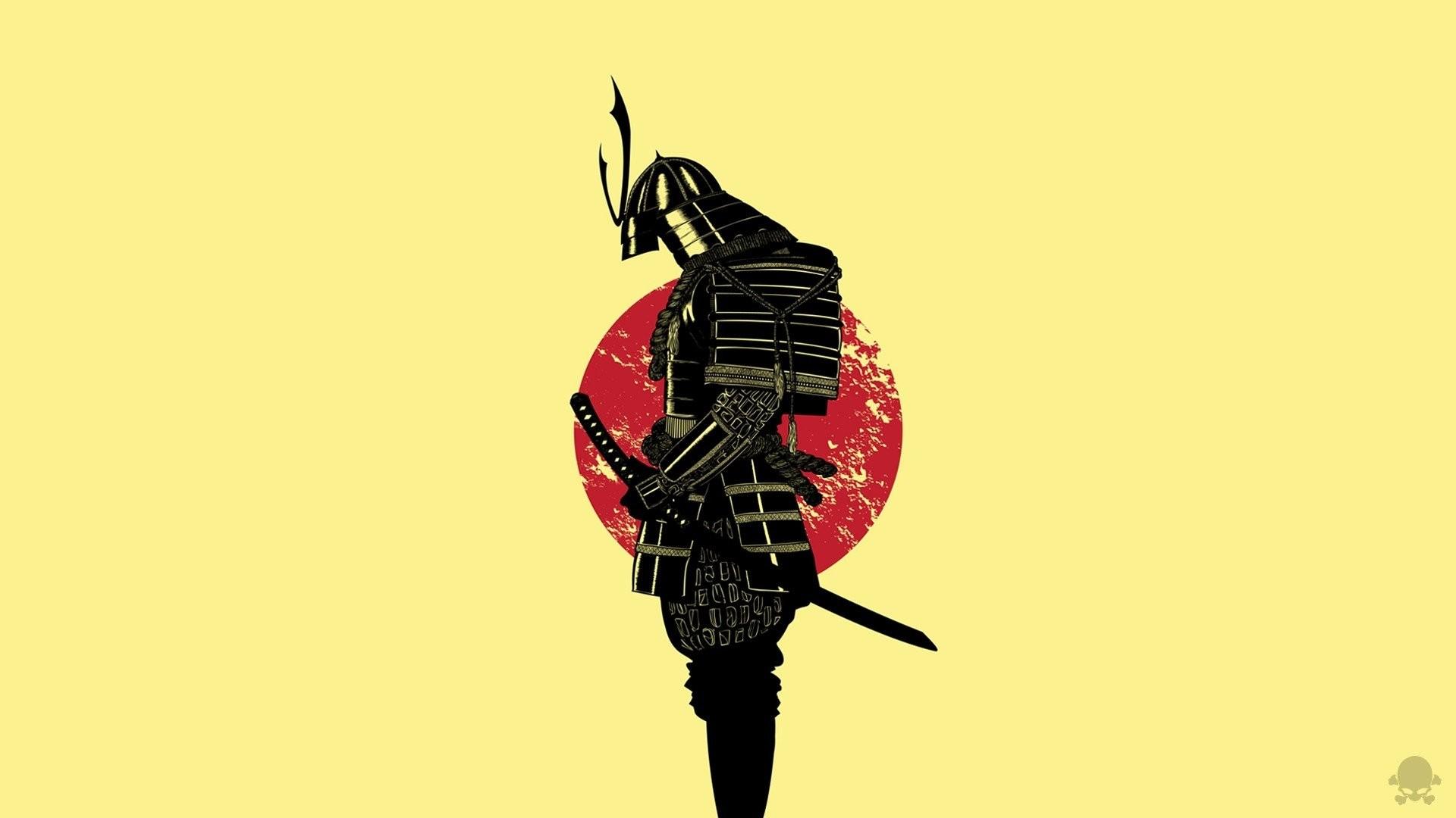 Artwork Black Design Digital Art Gaks Designs Illustrations Japan  Minimalistic Red Samurai Vectors Yellow