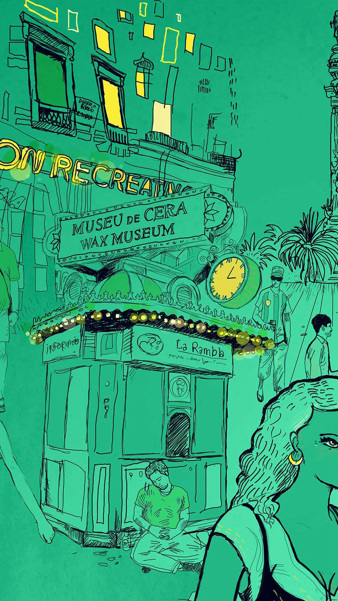 Wax Museum Art Illustration Green Street #iPhone #6 #plus #wallpaper