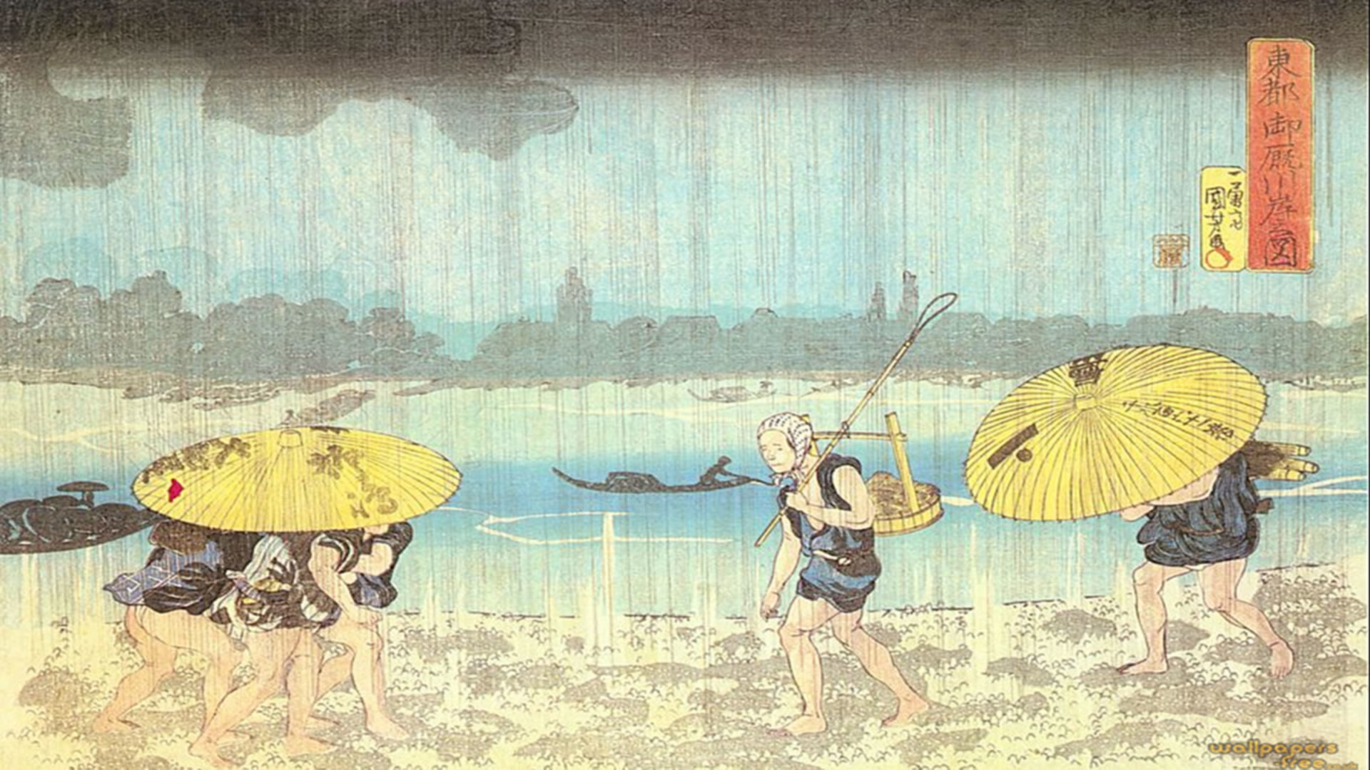 previous japanese wallpaper. On The Banks Of The River Sumida In Mimayagashi