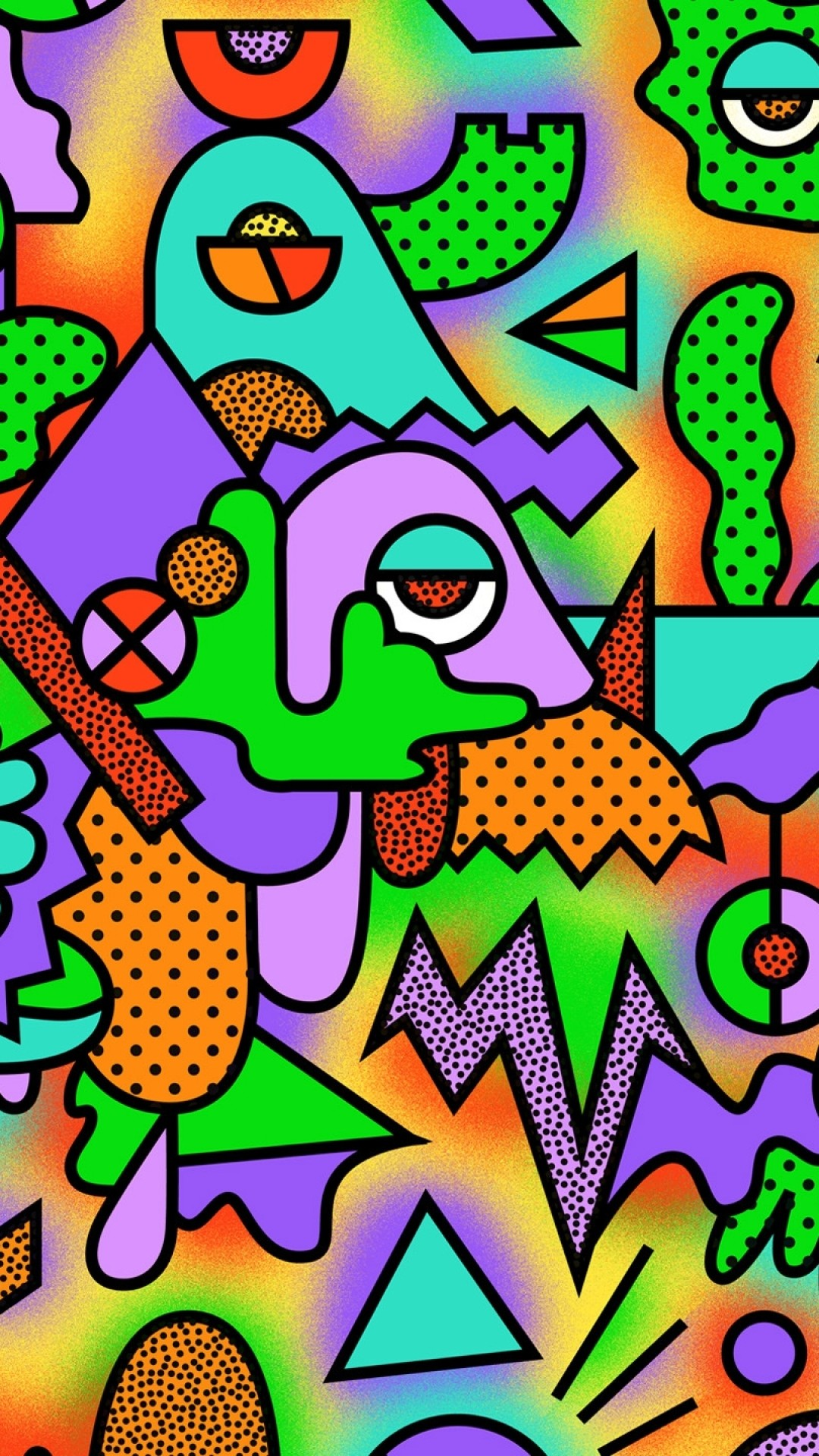 Preview wallpaper figurines, colorful, drawing, acid 1080×1920