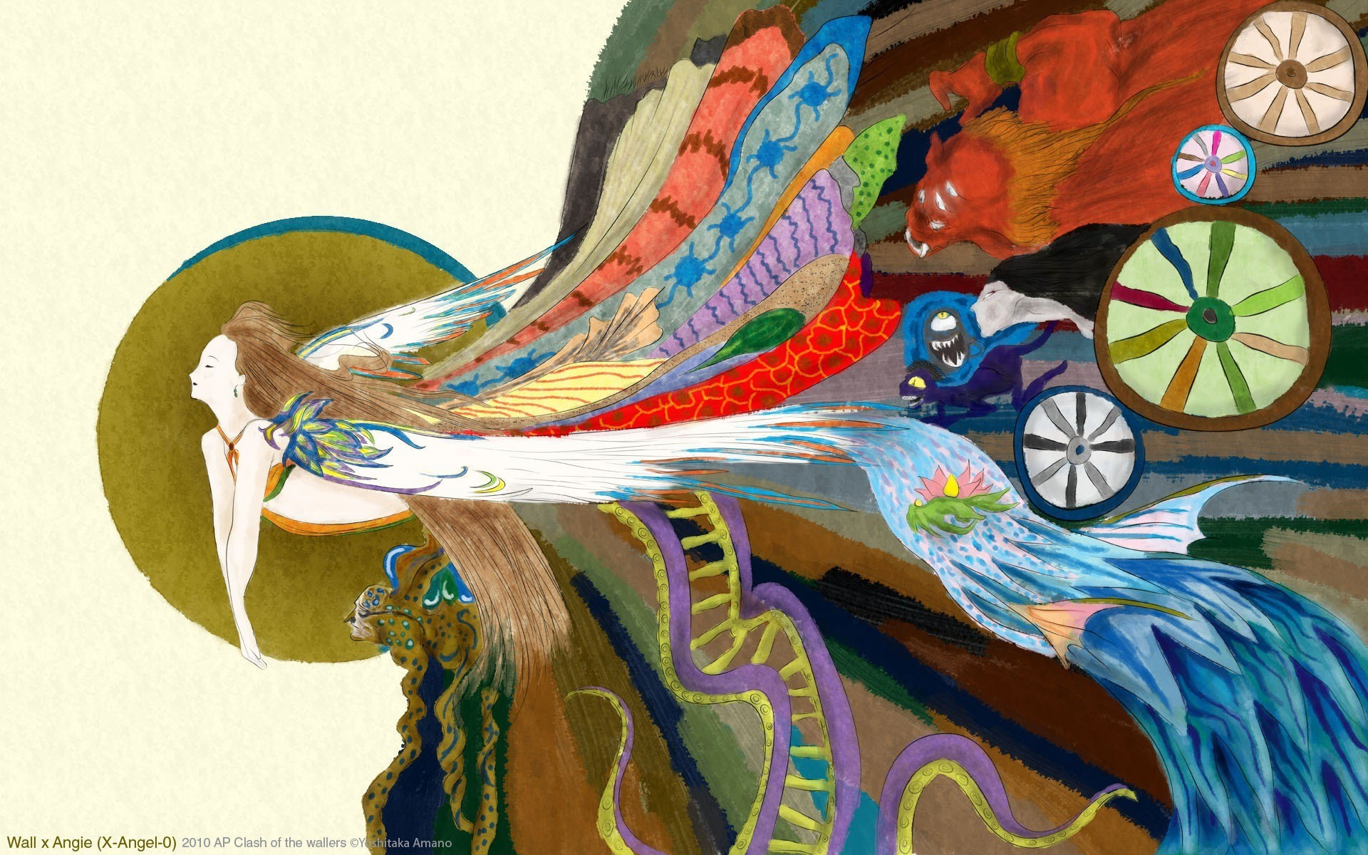 multicolor, kimono, fairies, Yoshitaka Amano – Free Wallpaper /  WallpaperJam.com