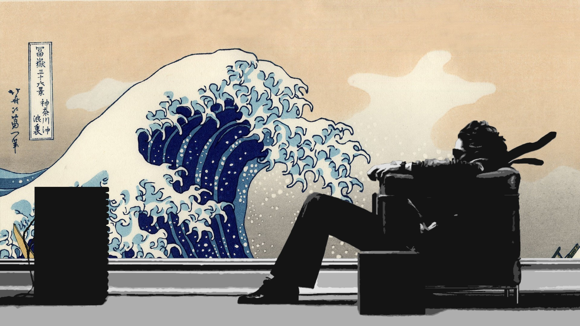 Japanese chairs artwork Maxell The Great Wave off Kanagawa wallpaper .