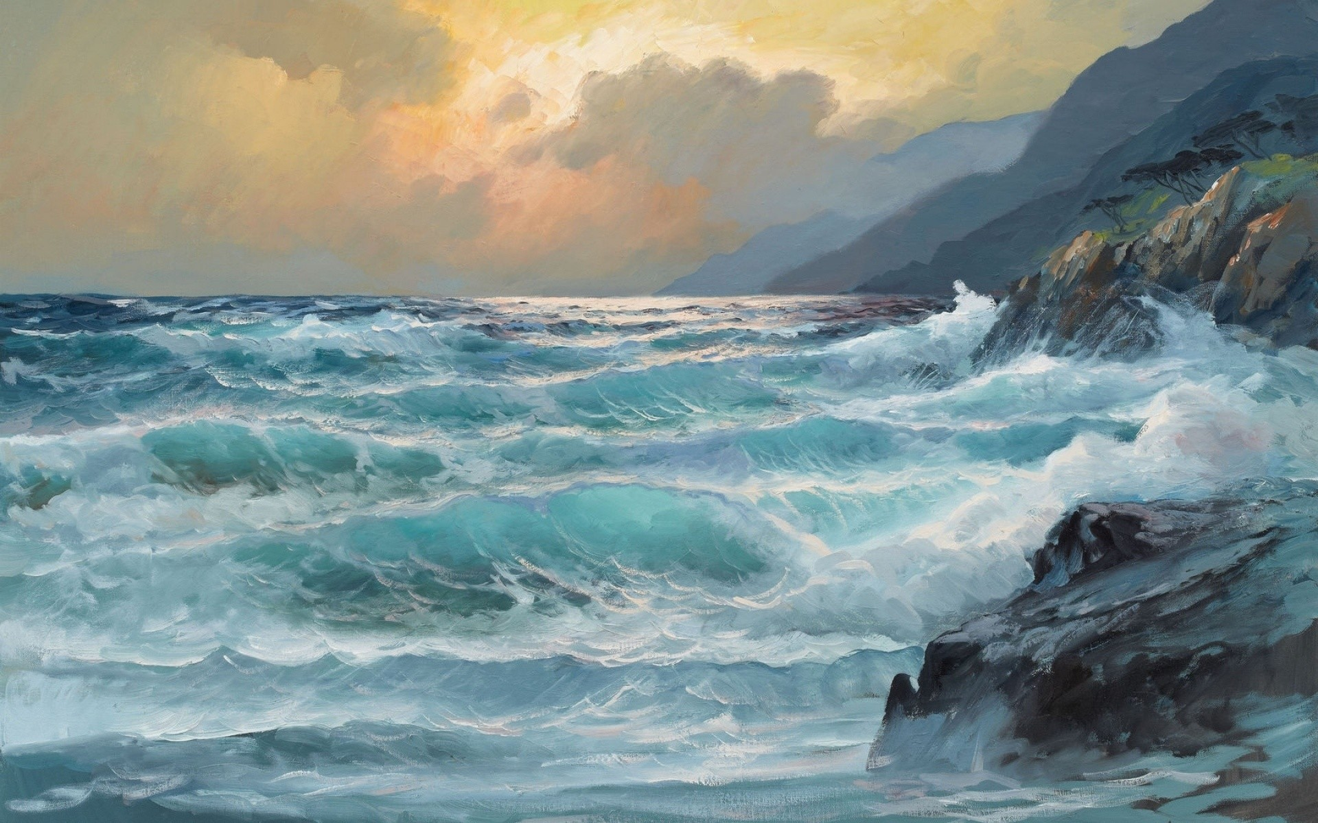 … sea waves painting art storm rock wallpaper …