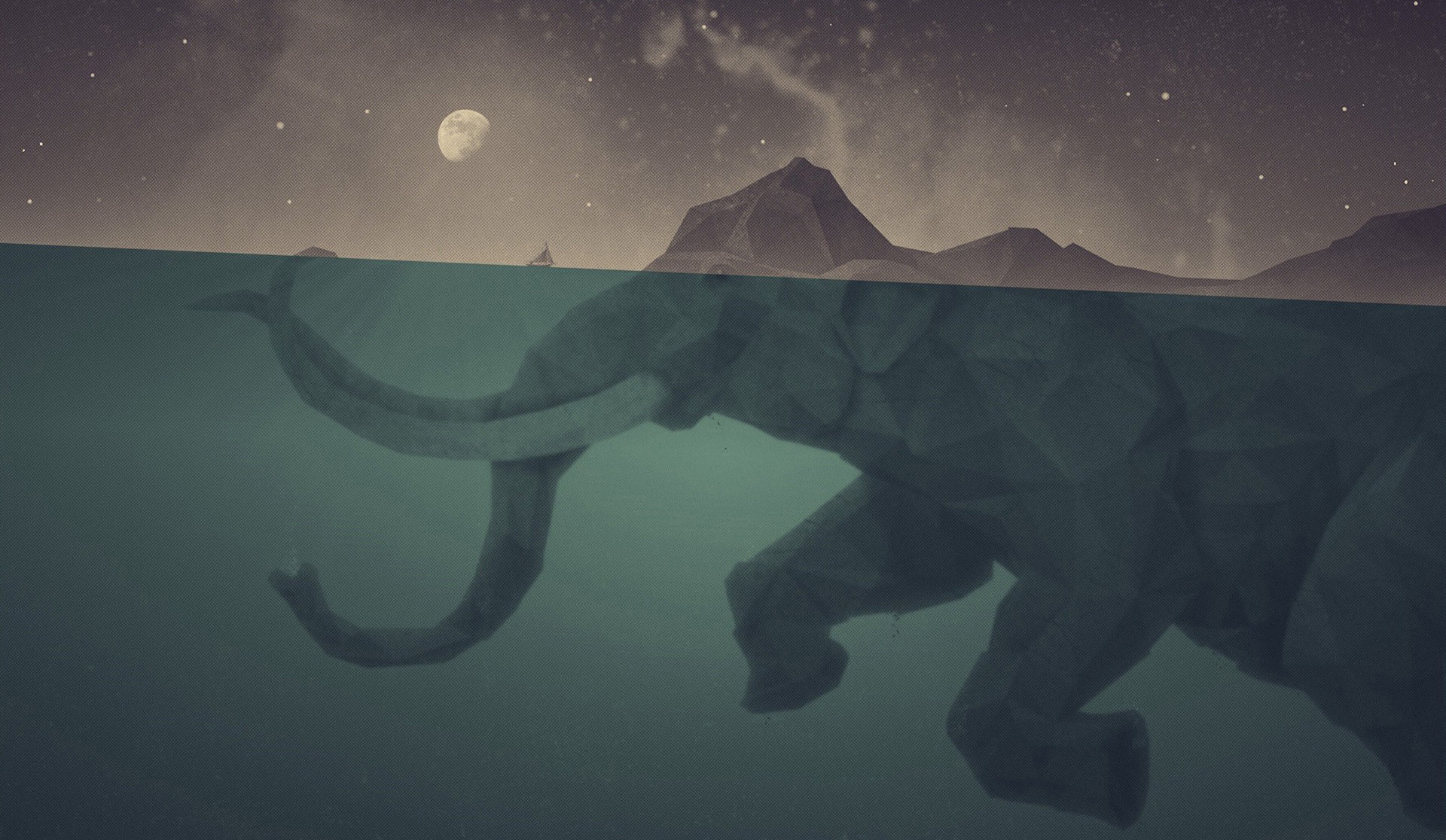 Abstract Moon Fantasy Art Islands Elephants Underwater. Abstract  Minimalistic Waves Coffee Solid Simplistic Simple The Great Wave Off  Kanagawa Wallpaper HD