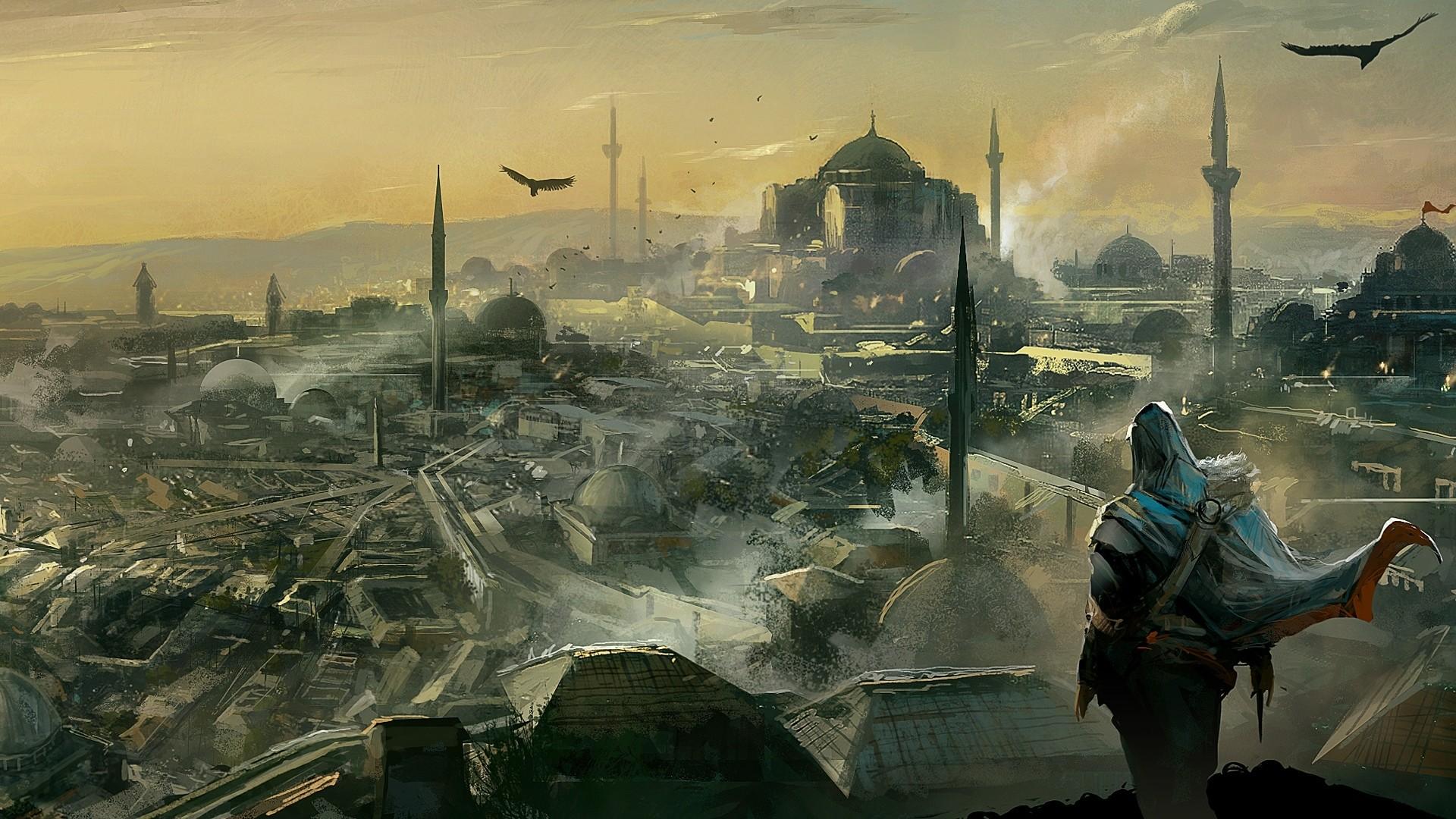 Wallpaper assassins creed, desmond miles, fan art, birds, city,  sky