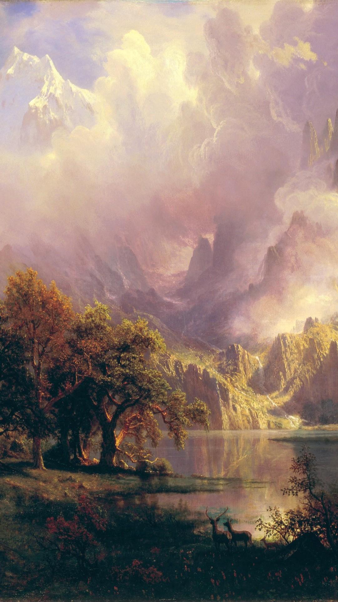 Albert Bierstadt Classic Painting Art #iPhone #6 #plus #wallpaper