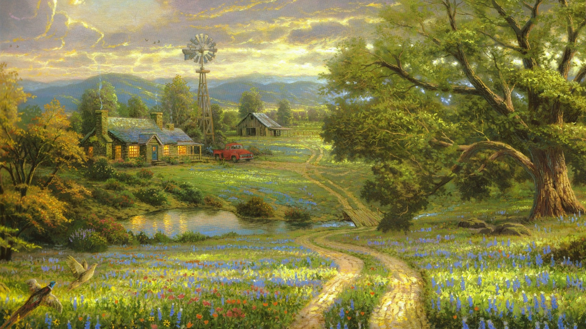 Preview wallpaper painting, art, landscape, road, country, at home, village