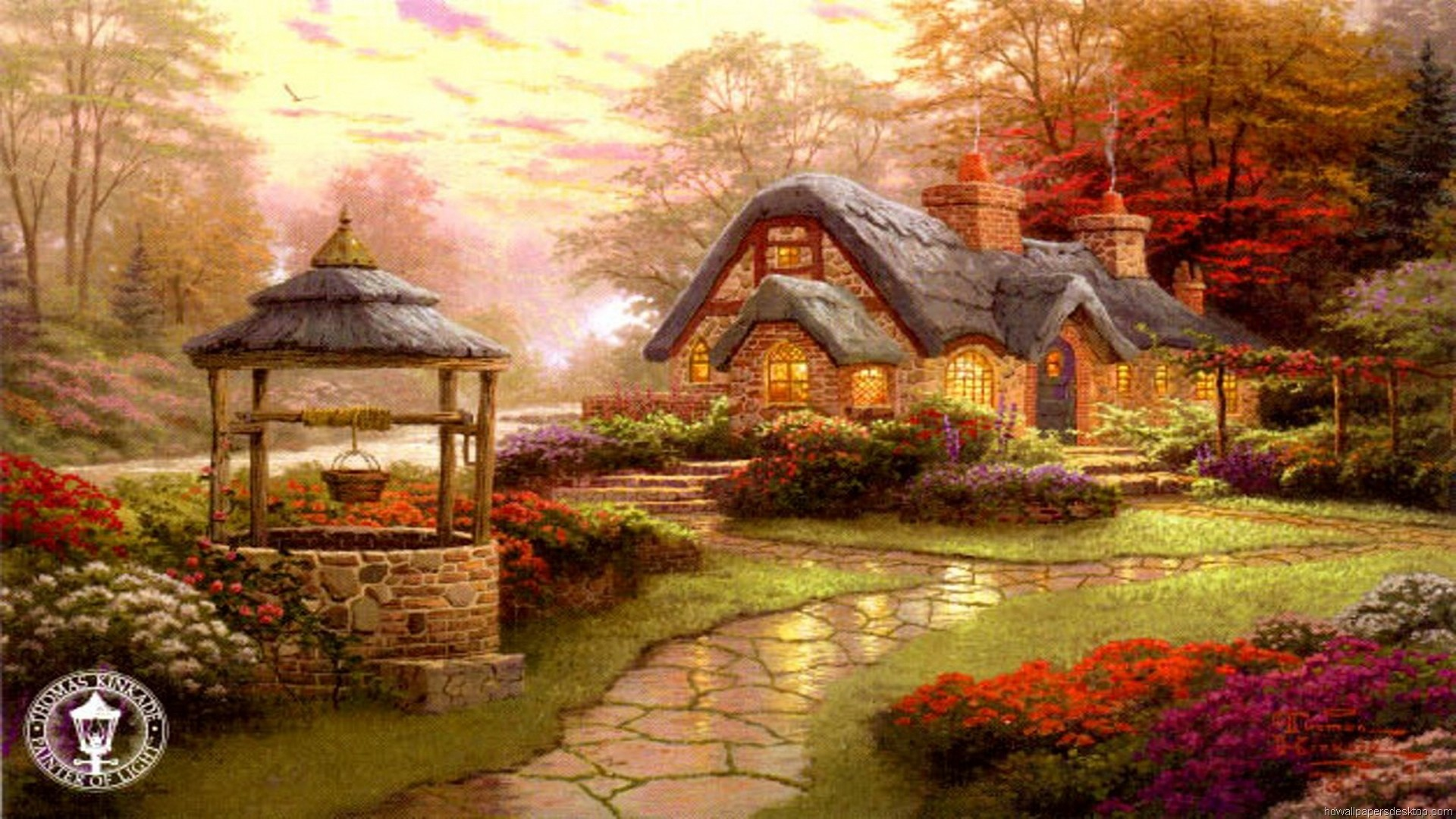 Thomas Kinkade Wallpaper, painting, art, evening, house, Kinkade .