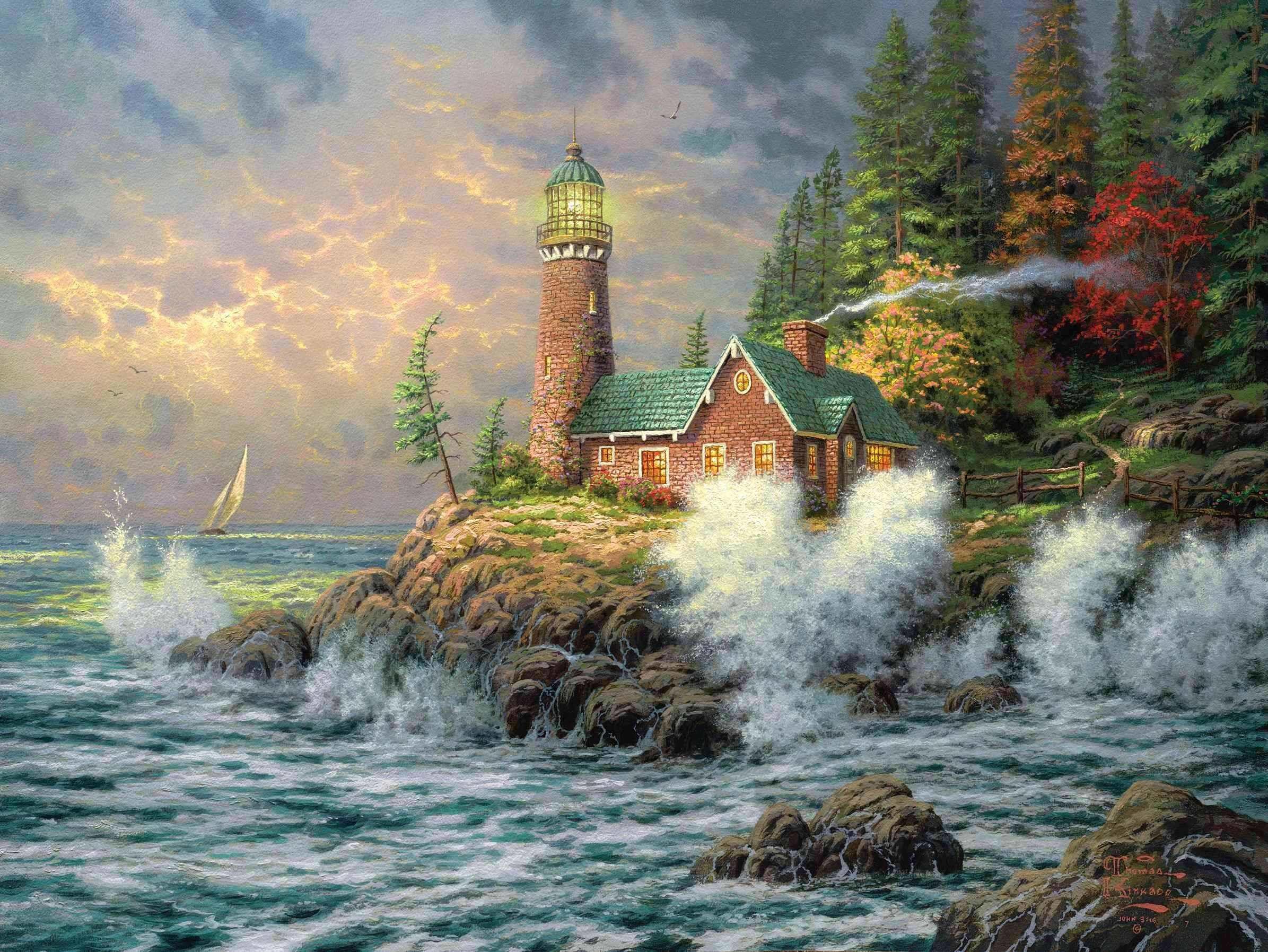 Wallpaper thomas kinkade, lighthouse, sea, art, painting .