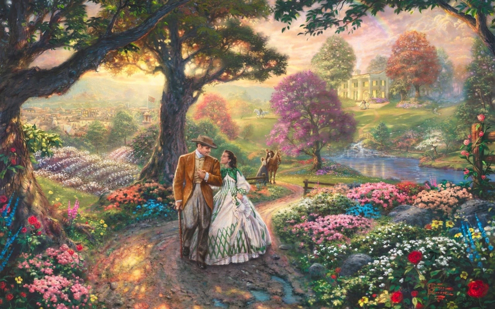 Gone With The Wind, Thomas Kinkade Wallpaper, Painting
