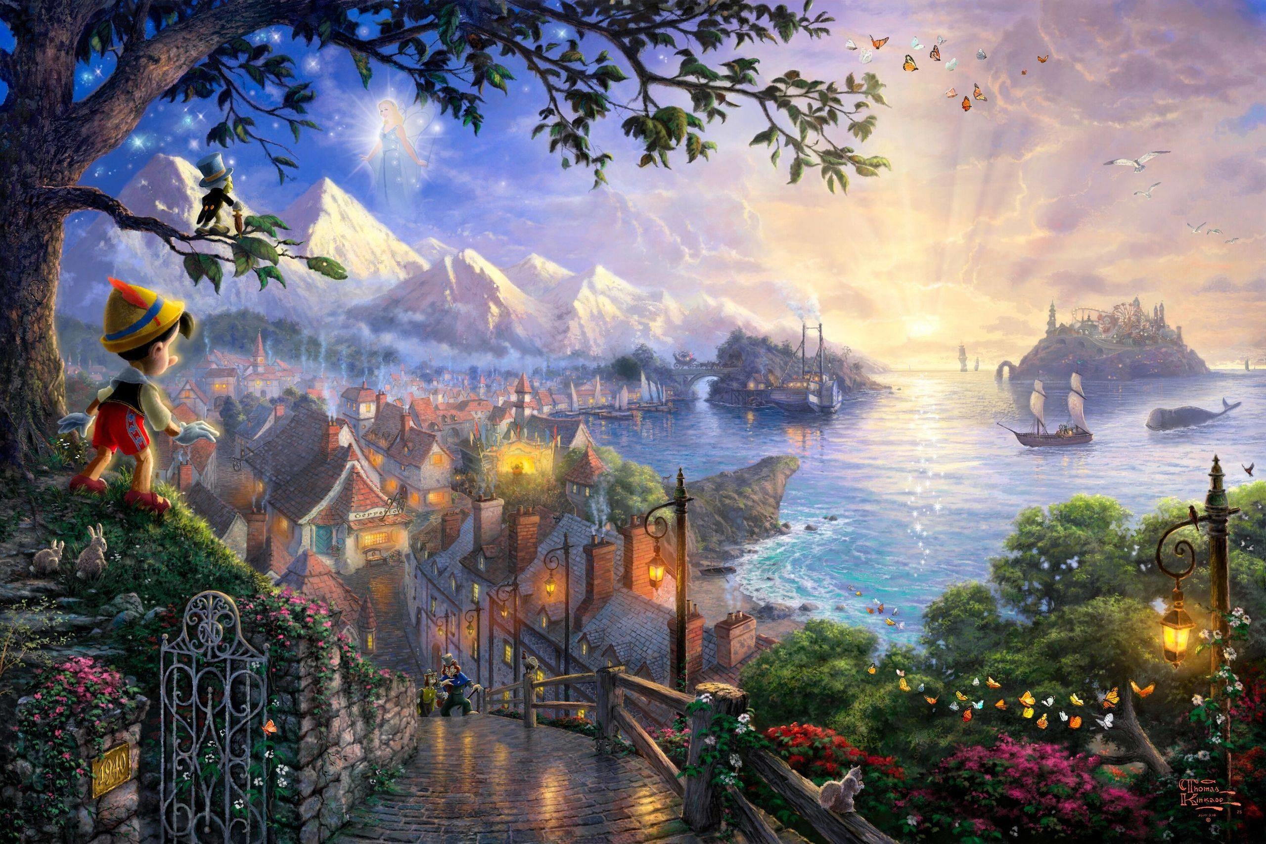 Thomas Kinkade's Disney Paintings – Pinocchio – Walt Disney .