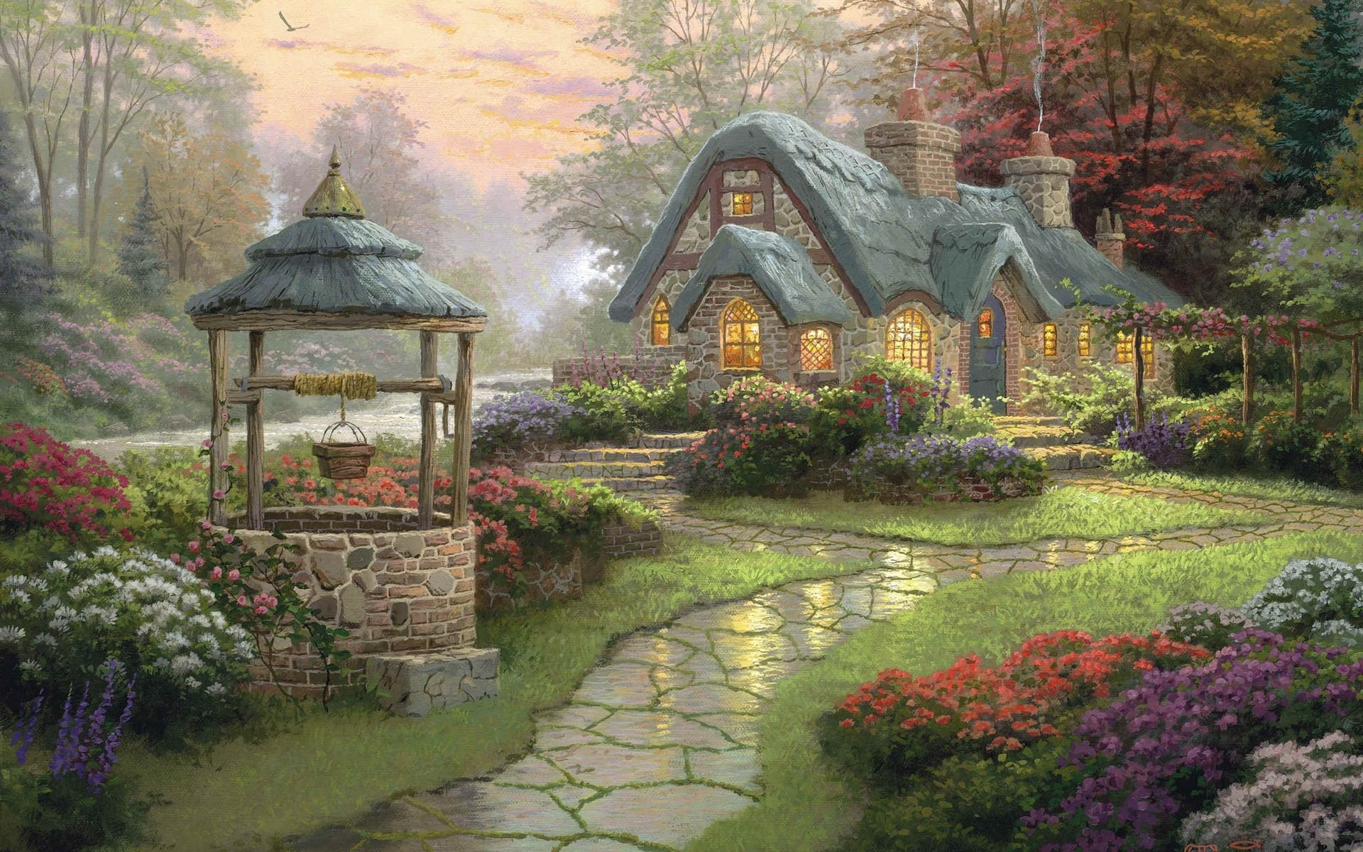 Wallpapers Backgrounds – landscape painting cottage wood flowers kinkade  thomas wallpapers