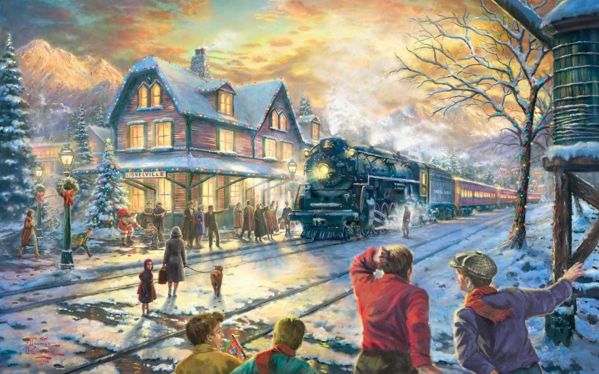 Thomas, Kinkade, Winter, Wallpaper, Background, M, Hd Wallpapers, Cool