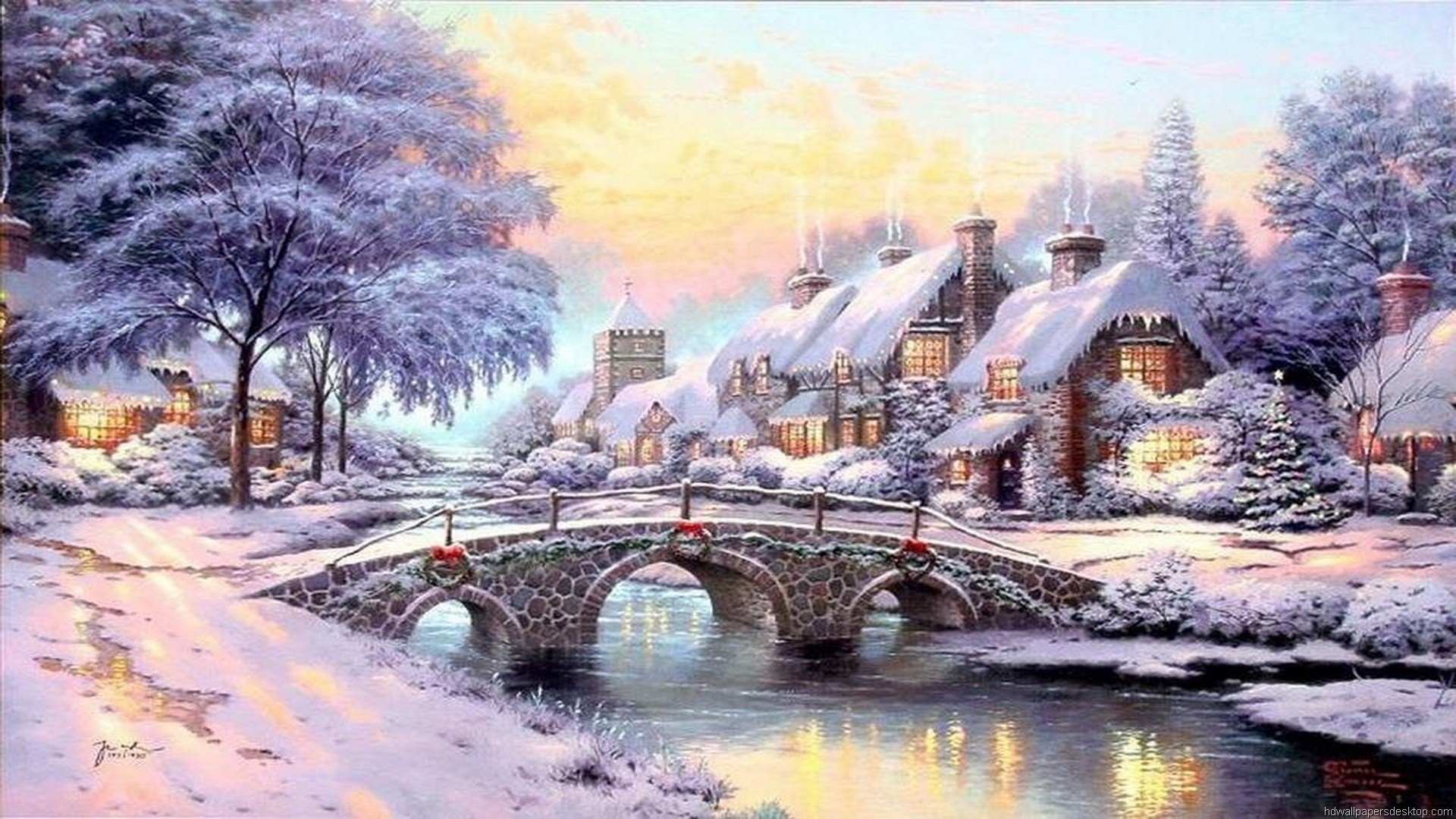 Awesome Thomas Kinkade Christmas Village Wallpaper Free download best  Latest 3D HD desktop wallpapers background Wide