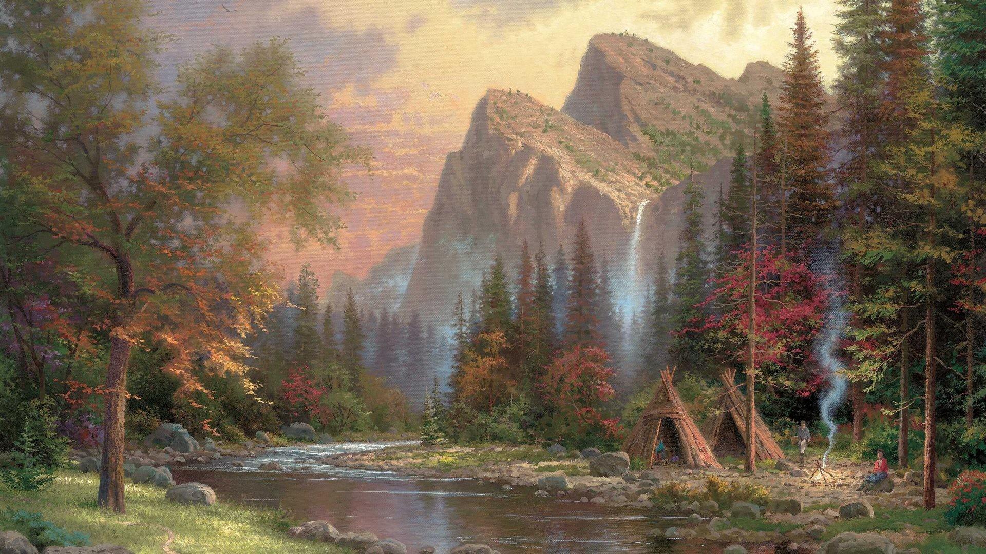 Kinkade Tag – Mountains Declare Glory Thomas Kinkade Fire Sunset Waterfalls  Painting Nature Smoke River Yurt