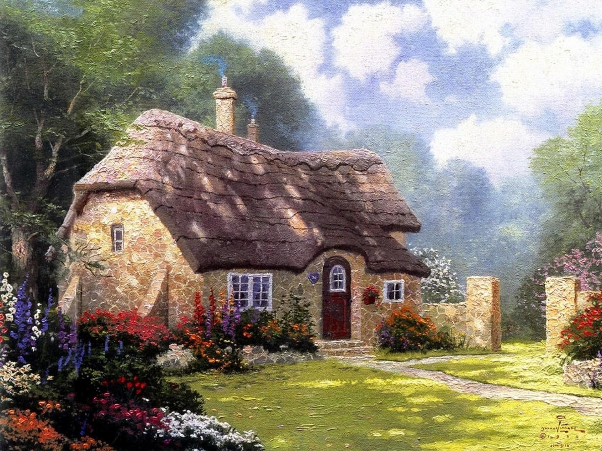 Thomas, Kinkade, Painting, Beautiful, Lodge, Roof, Hd, Wallpaper,