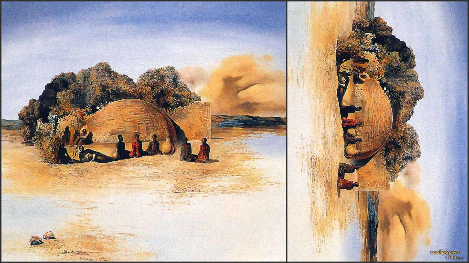African Tribe Camp – Optical Illusion Salvador Dali Art Wallpaper .